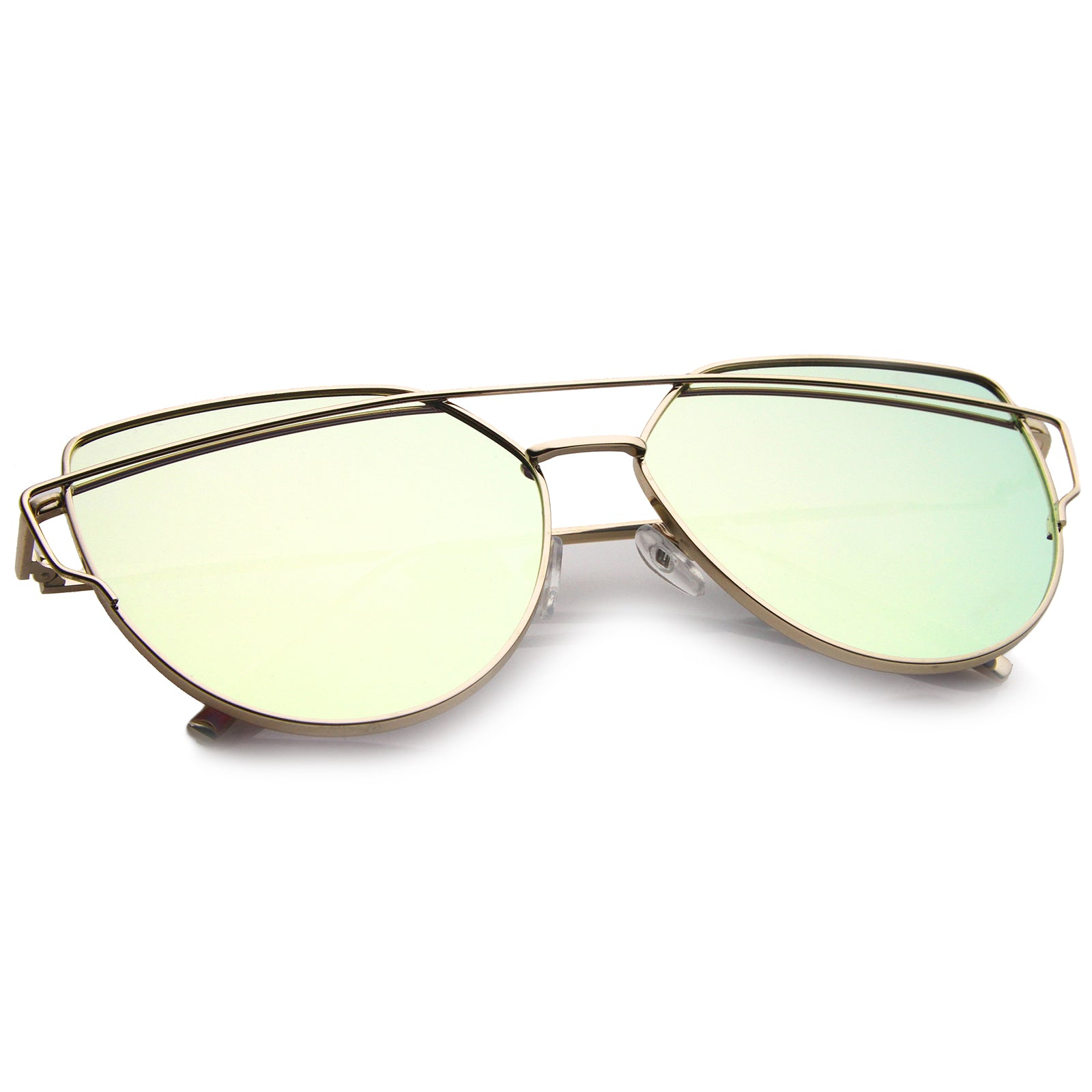 Oversize Metal Frame Thin Temple Color Mirror Flat Lens Aviator Sunglasses 62mm - sunglass.la - 24