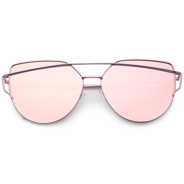 Oversize Metal Frame Thin Temple Color Mirror Flat Lens Aviator Sunglasses 62mm - sunglass.la - 1