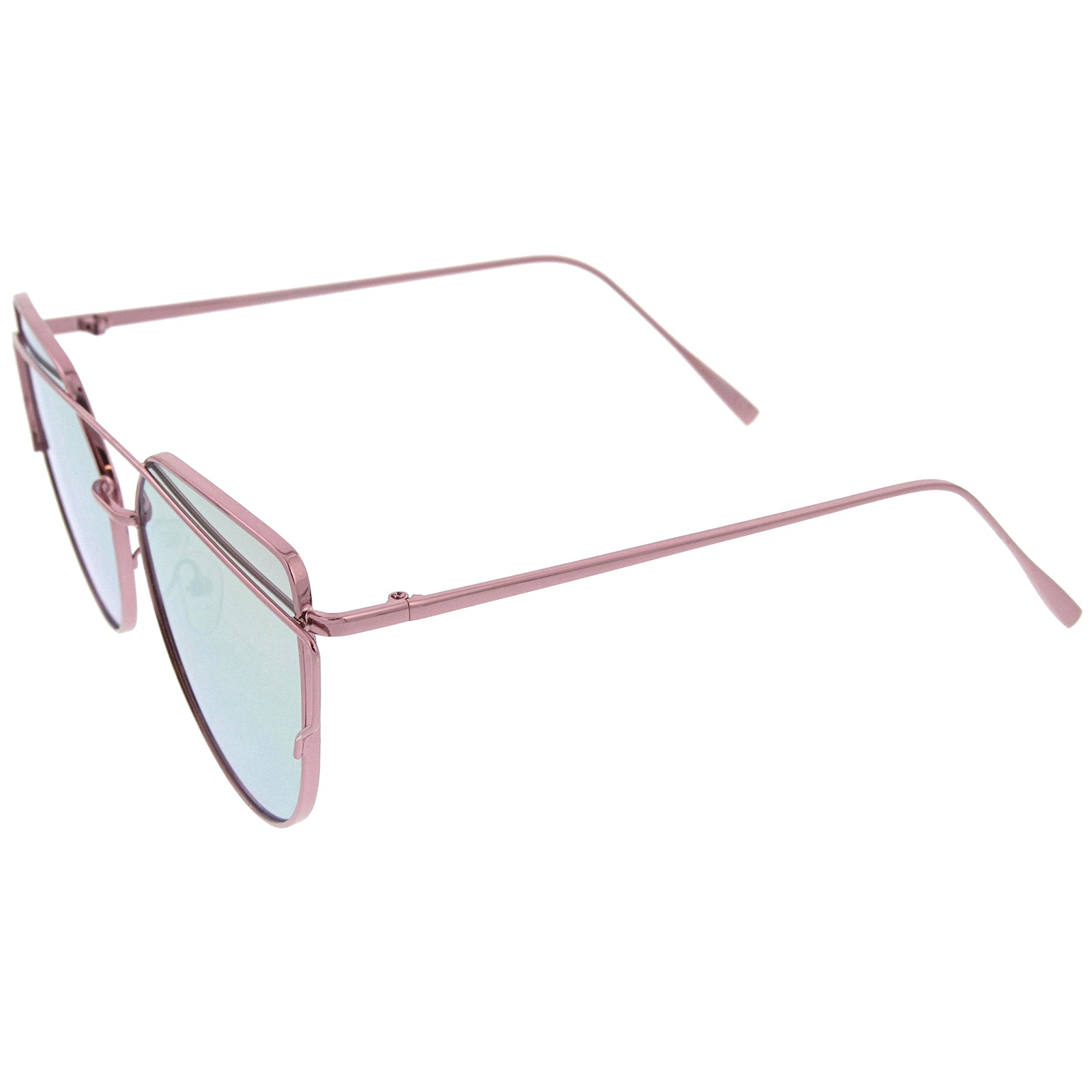 Oversize Metal Frame Thin Temple Color Mirror Flat Lens Aviator Sunglasses 62mm - sunglass.la - 3