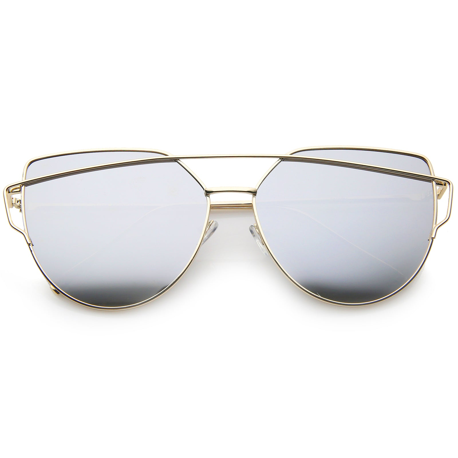 Oversize Metal Frame Thin Temple Color Mirror Flat Lens Aviator Sunglasses 62mm - sunglass.la - 5