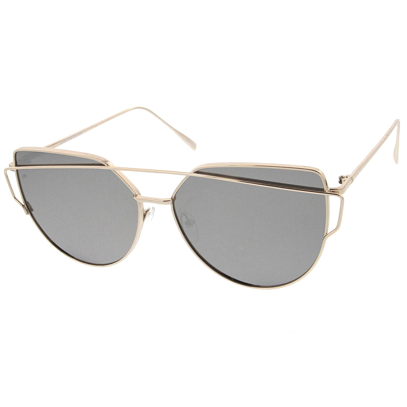 Oversize Metal Frame Thin Temple Color Mirror Flat Lens Aviator Sunglasses 62mm - sunglass.la - 6
