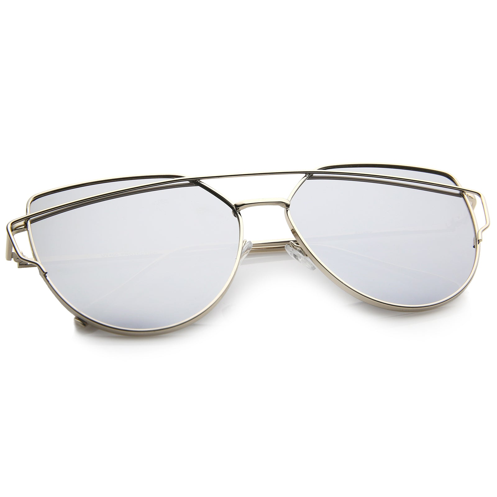 Oversize Metal Frame Thin Temple Color Mirror Flat Lens Aviator Sunglasses 62mm - sunglass.la - 8