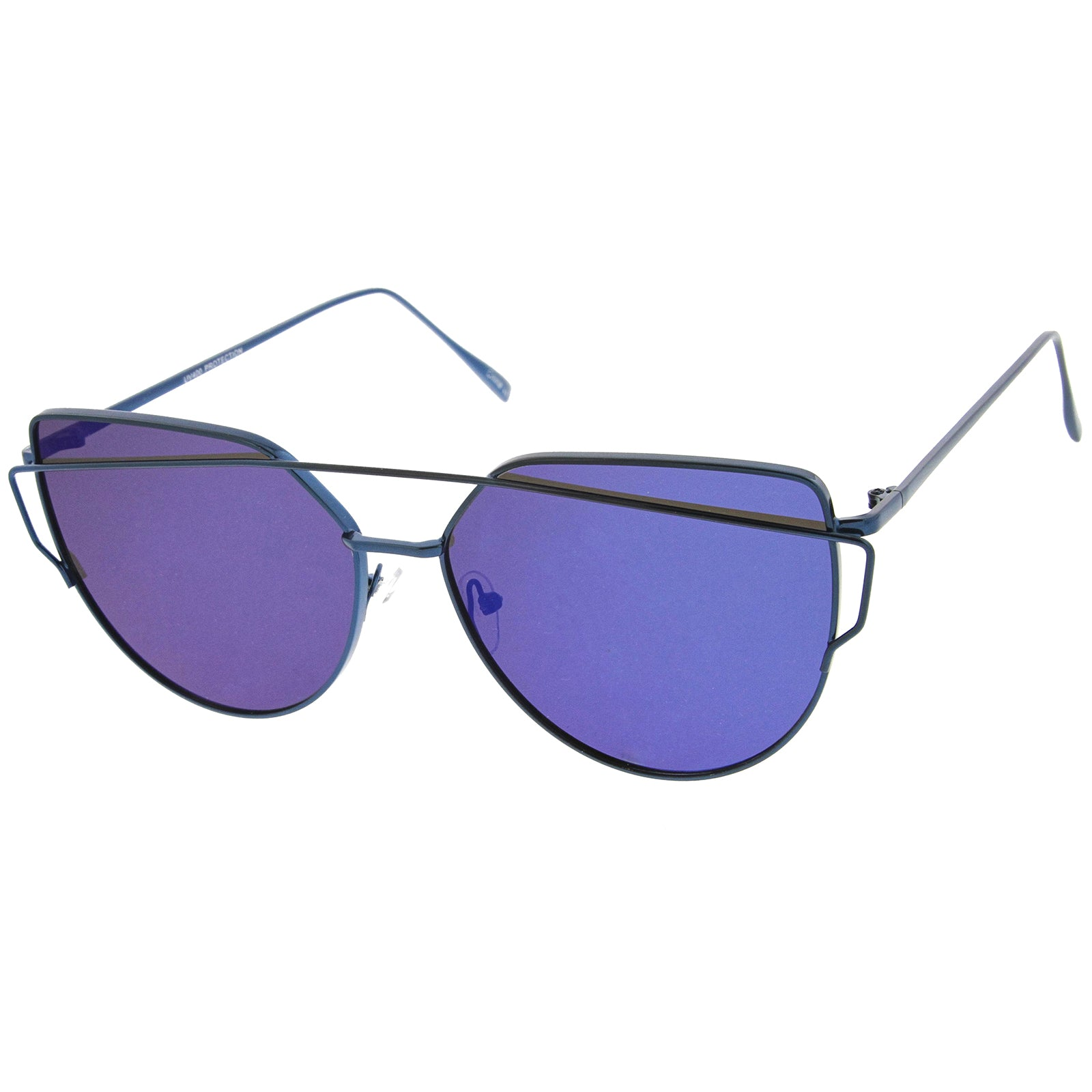 Oversize Metal Frame Thin Temple Color Mirror Flat Lens Aviator Sunglasses 62mm - sunglass.la - 10