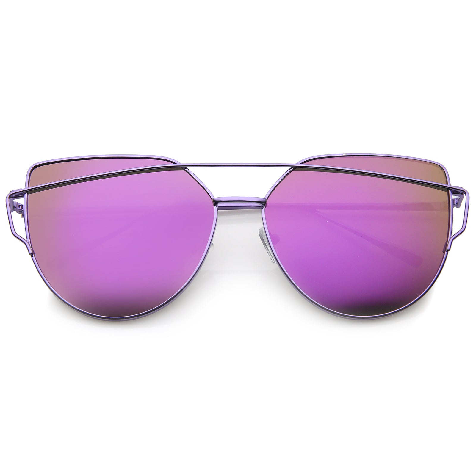 Oversize Metal Frame Thin Temple Color Mirror Flat Lens Aviator Sunglasses 62mm - sunglass.la - 13