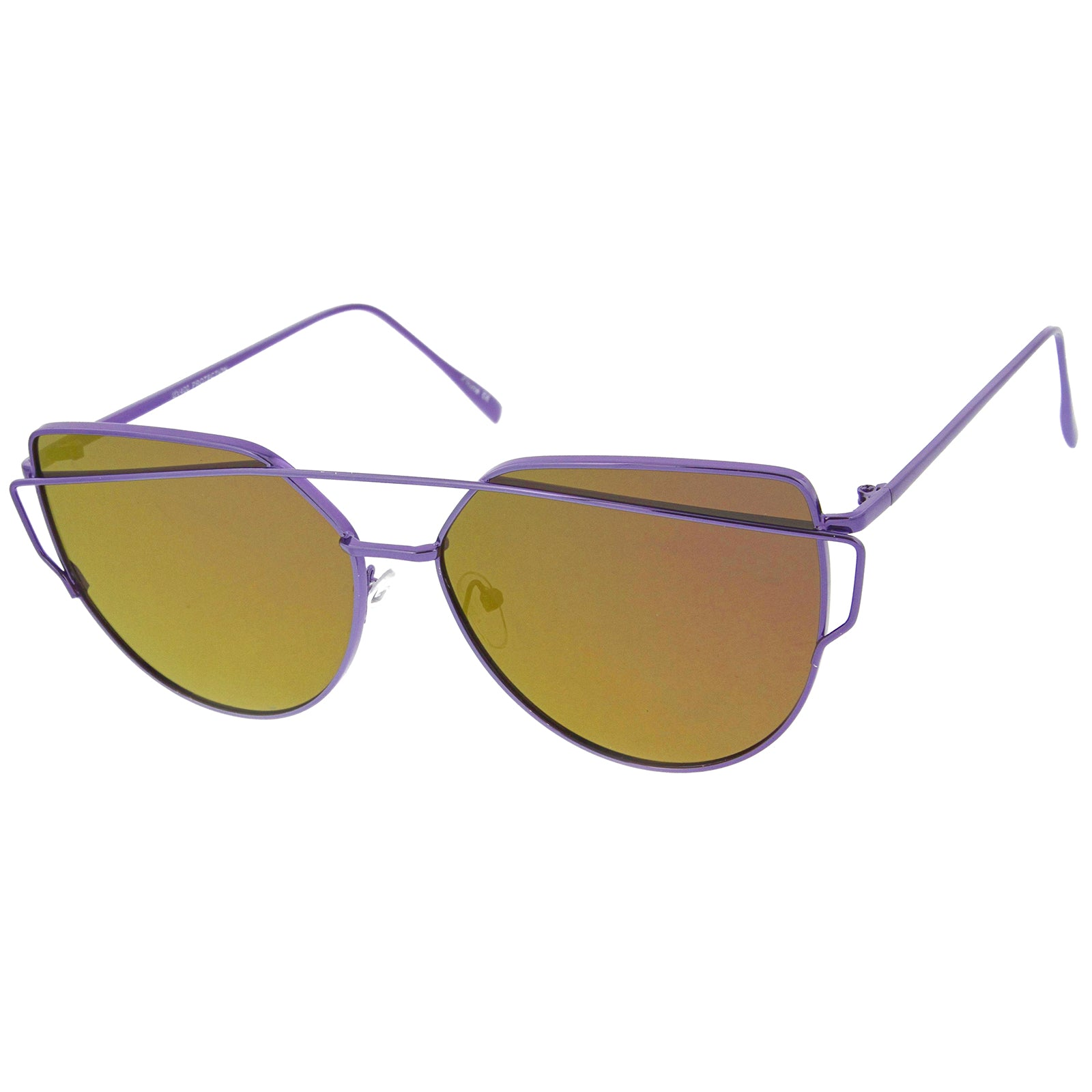 Oversize Metal Frame Thin Temple Color Mirror Flat Lens Aviator Sunglasses 62mm - sunglass.la - 14