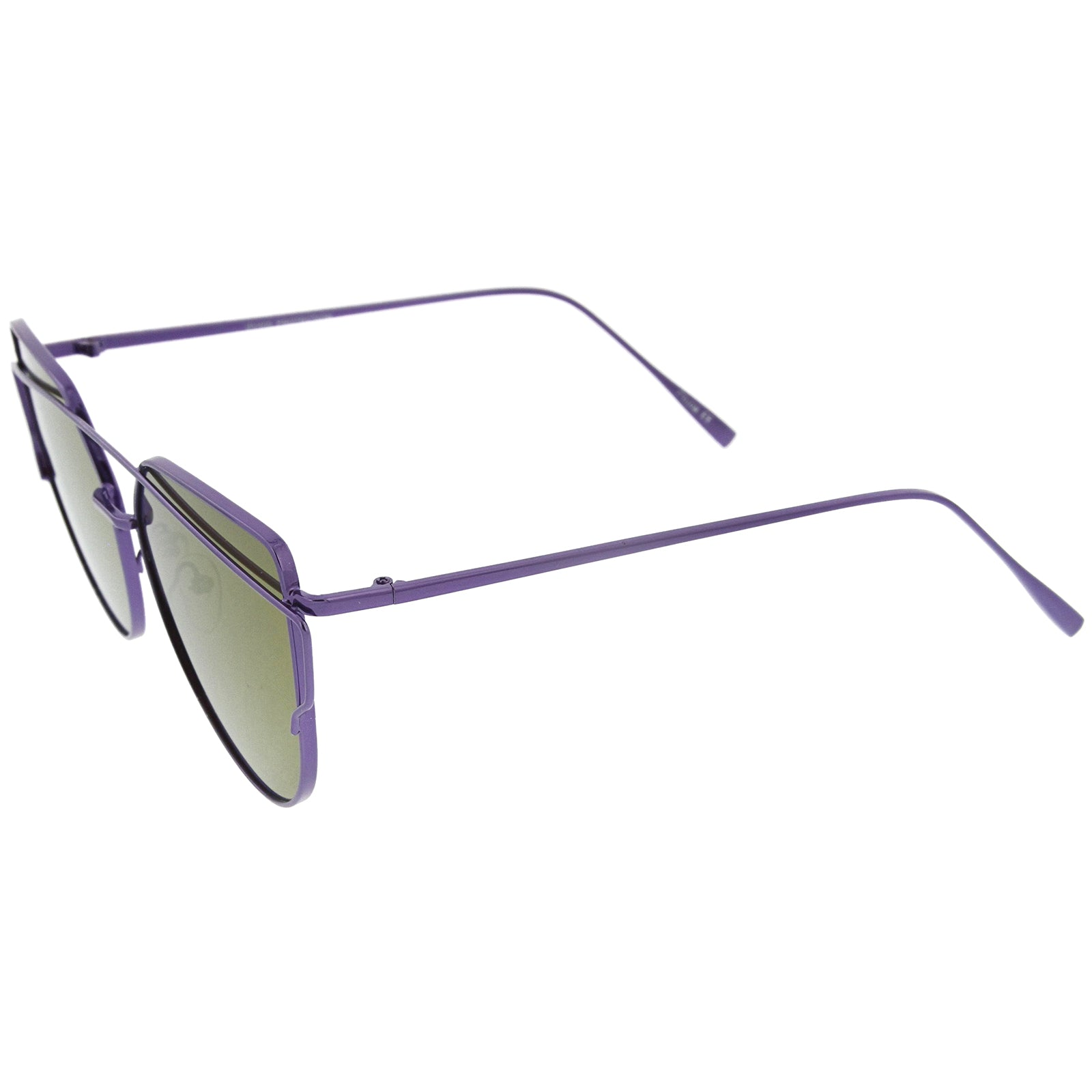 Oversize Metal Frame Thin Temple Color Mirror Flat Lens Aviator Sunglasses 62mm - sunglass.la - 15