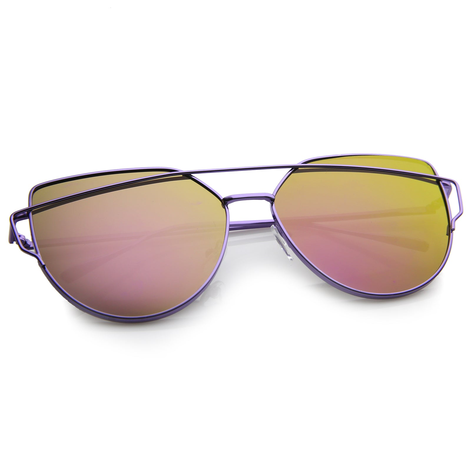 Oversize Metal Frame Thin Temple Color Mirror Flat Lens Aviator Sunglasses 62mm - sunglass.la - 16
