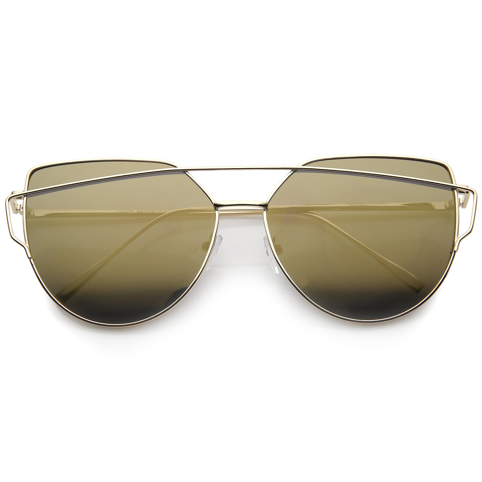 Oversize Metal Frame Thin Temple Color Mirror Flat Lens Aviator Sunglasses 62mm - sunglass.la - 17