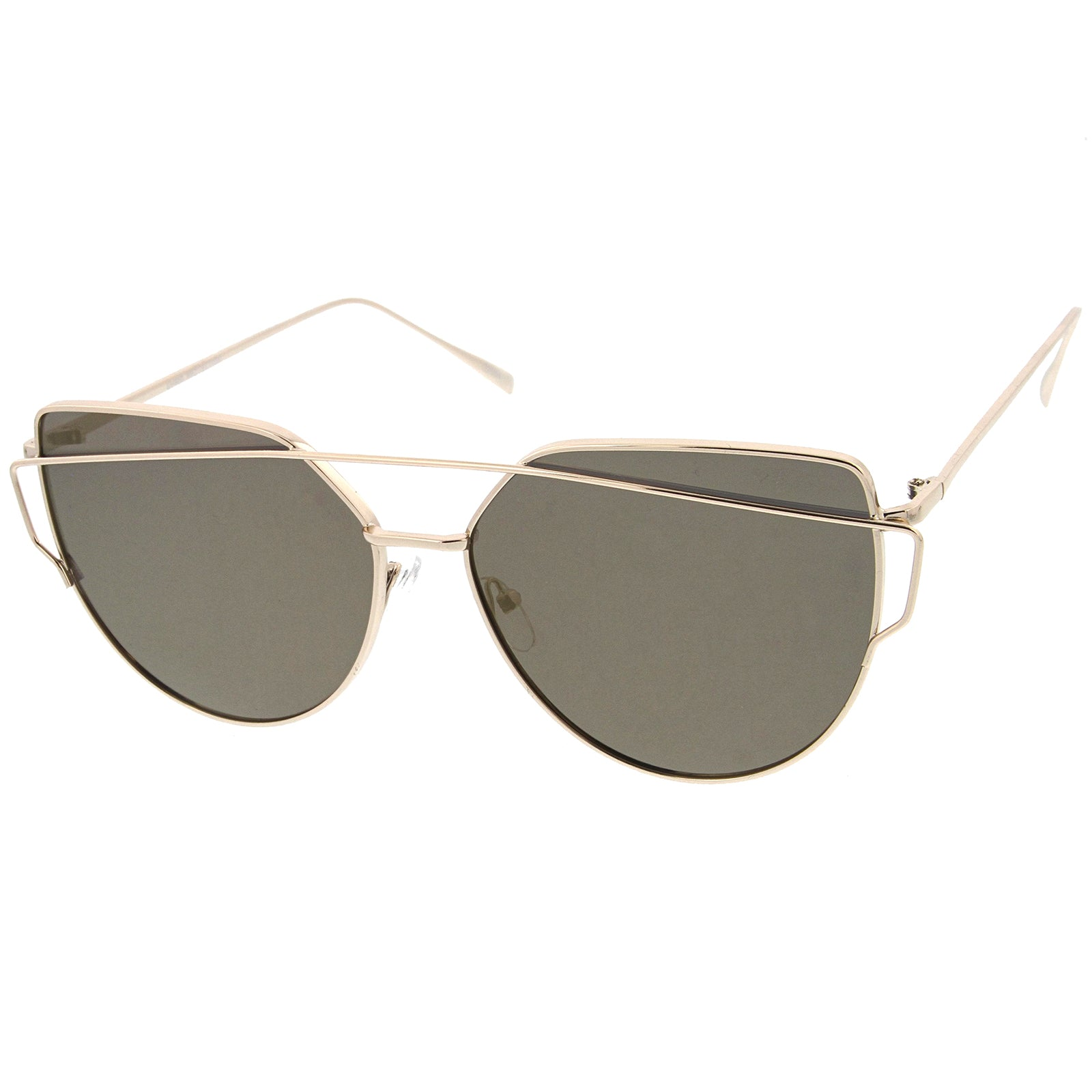 Oversize Metal Frame Thin Temple Color Mirror Flat Lens Aviator Sunglasses 62mm - sunglass.la - 18