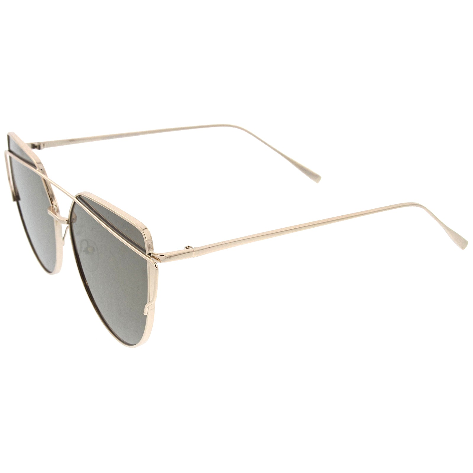 Oversize Metal Frame Thin Temple Color Mirror Flat Lens Aviator Sunglasses 62mm - sunglass.la - 19