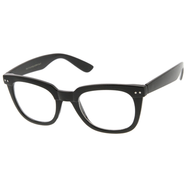 Modern Chunky Frame Wide Temple Clear Lens Square Horn Rimmed Glasses 51mm - sunglass.la - 1