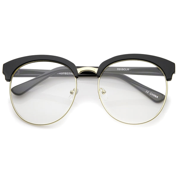 Oversized Flat Clear Lens Half Frame Semi-Rimless Round Glasses 58mm - sunglass.la - 1