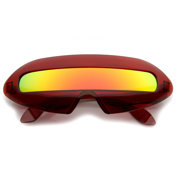 Futuristic Transparent Shield Colored Mirror Lens Novelty Wrap Sunglasses 70mm - sunglass.la