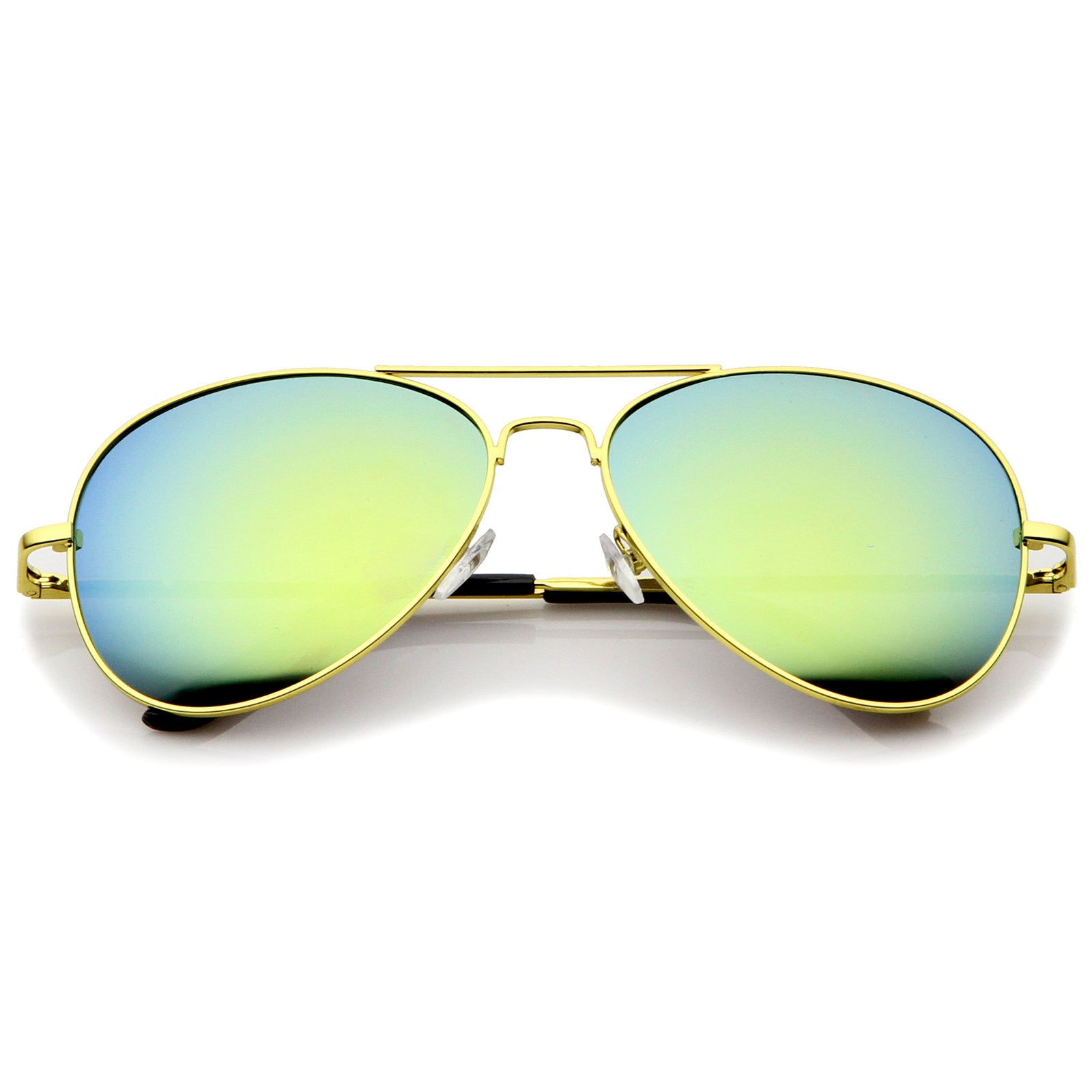 Classic Metal Frame Spring Hinges Color Mirror Lens Aviator Sunglasses 58mm - sunglass.la