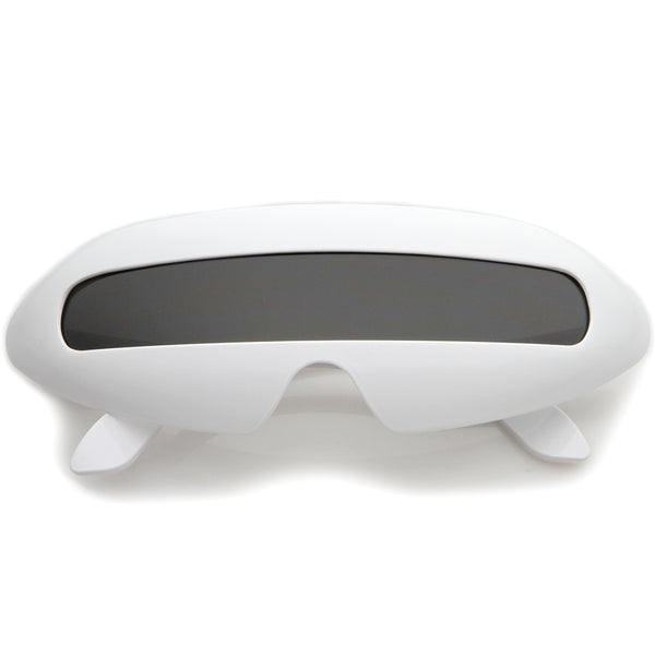Futuristic Cyclops Costume Single Shield Lens Novelty Wrap Sunglasses 70mm - sunglass.la