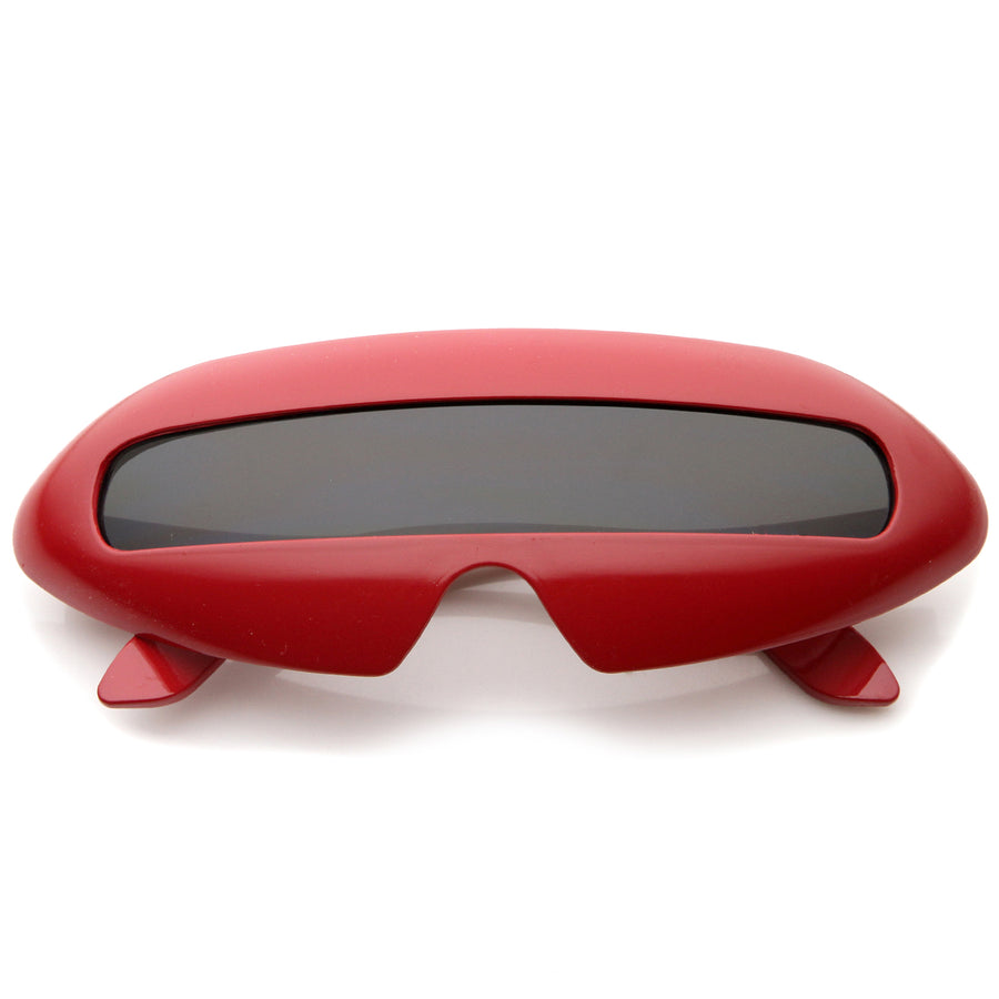 267fcecfd272 Futuristic Cyclops Costume Single Shield Lens Novelty Wrap Sunglasses 70mm