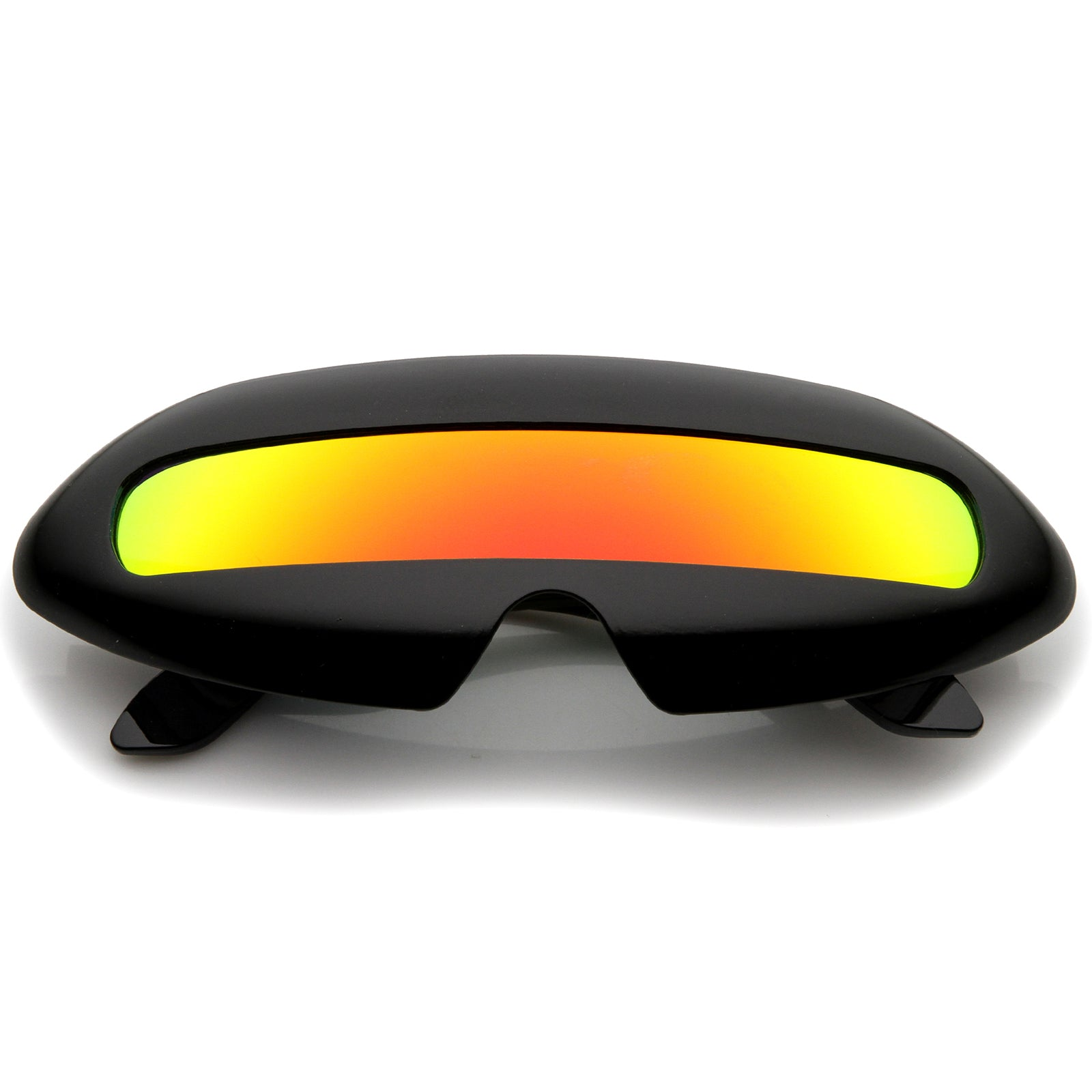Futuristic Costume Single Shield Colored Mirror Lens Novelty Wrap Sunglasses 70mm - sunglass.la - 1