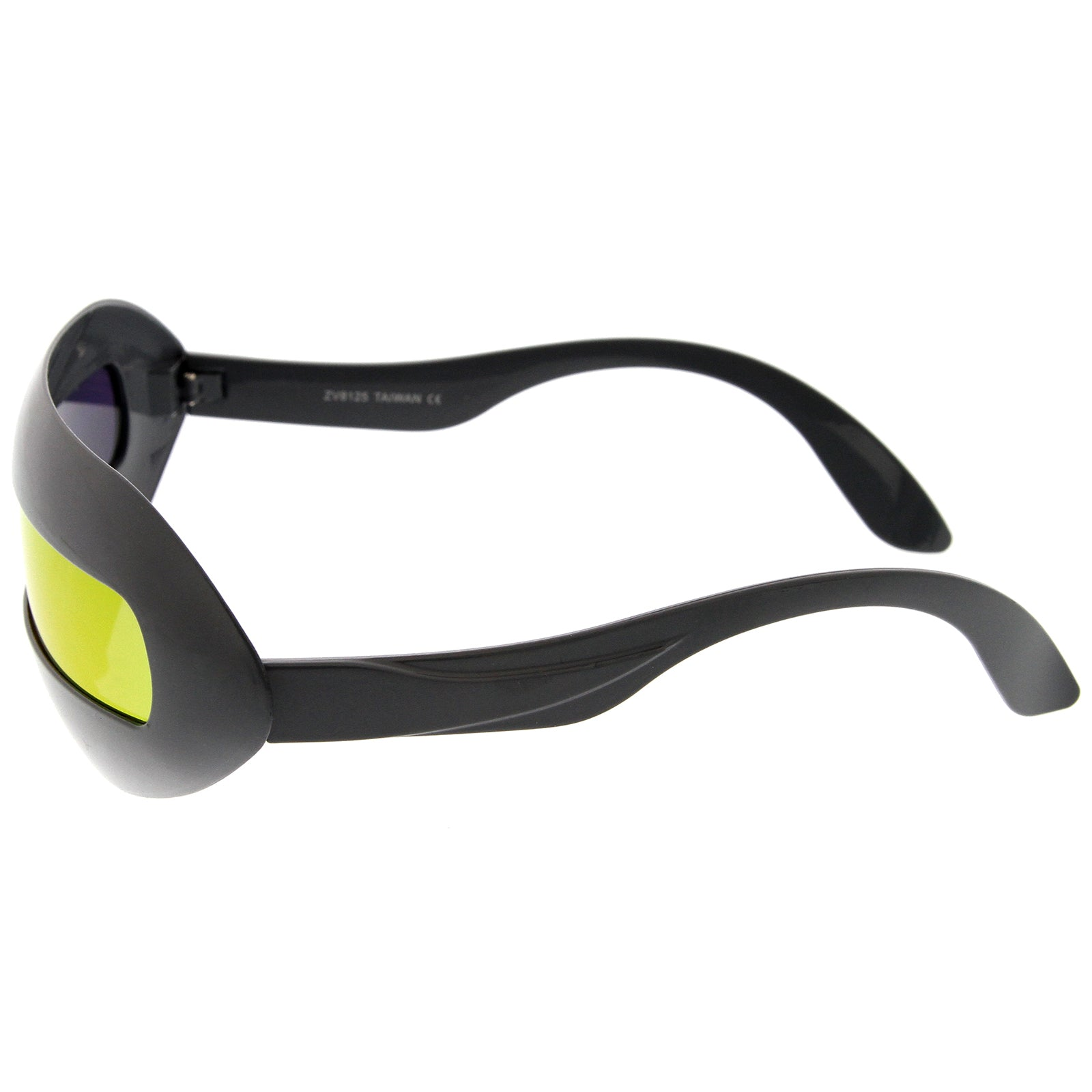 Futuristic Costume Single Shield Colored Mirror Lens Novelty Wrap Sunglasses 70mm - sunglass.la - 3