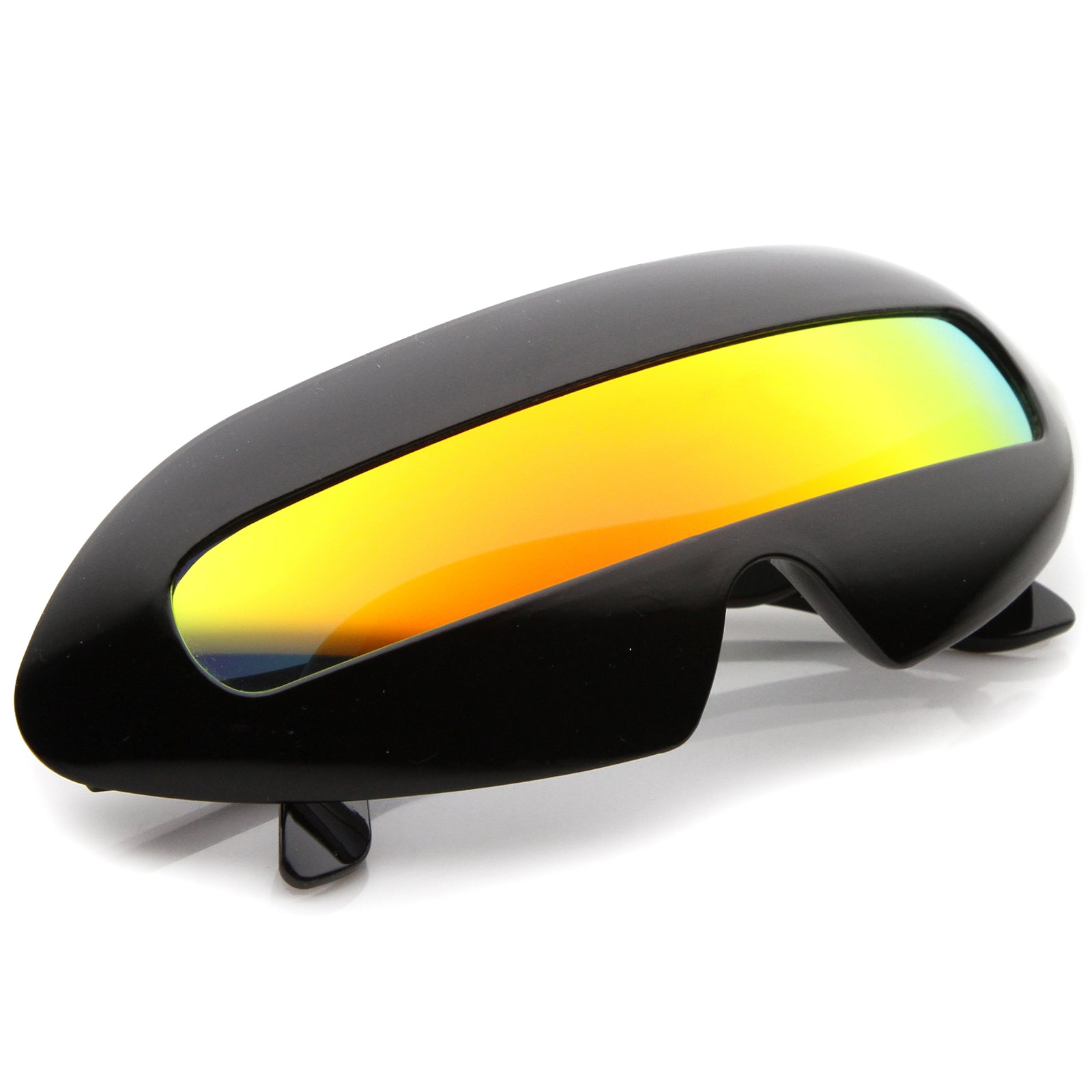 Futuristic Costume Single Shield Colored Mirror Lens Novelty Wrap Sunglasses 70mm - sunglass.la - 4