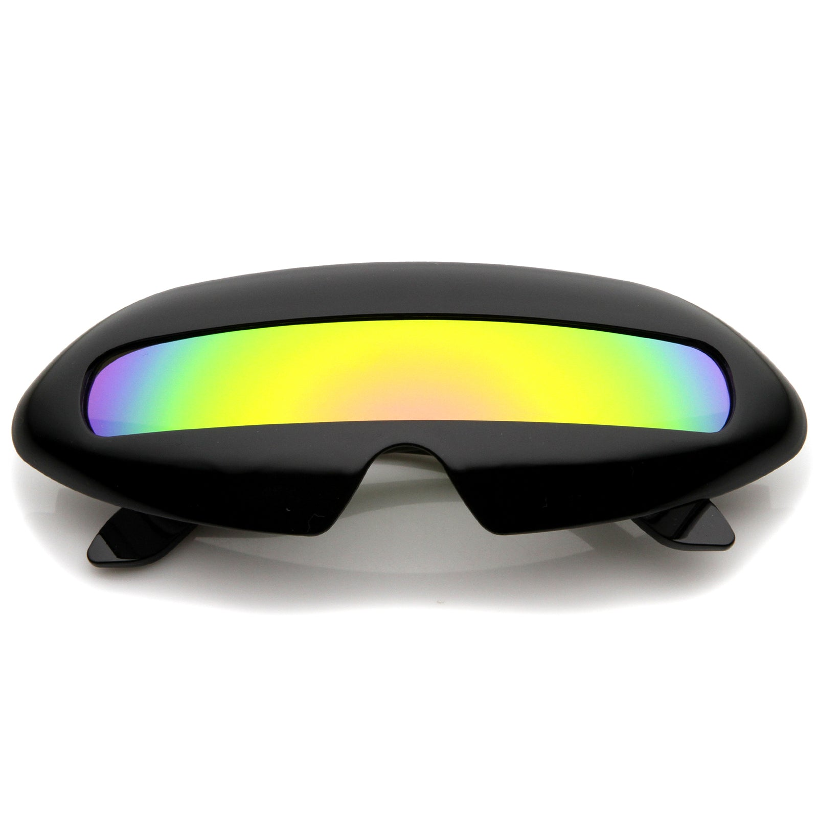 Futuristic Costume Single Shield Colored Mirror Lens Novelty Wrap Sunglasses 70mm - sunglass.la - 5