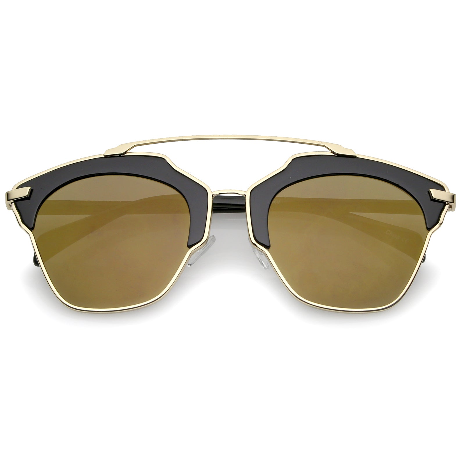 f00ce3f872a9 High Fashion Two-Toned Pantos Crossbar Colored Mirror Lens Aviator ...