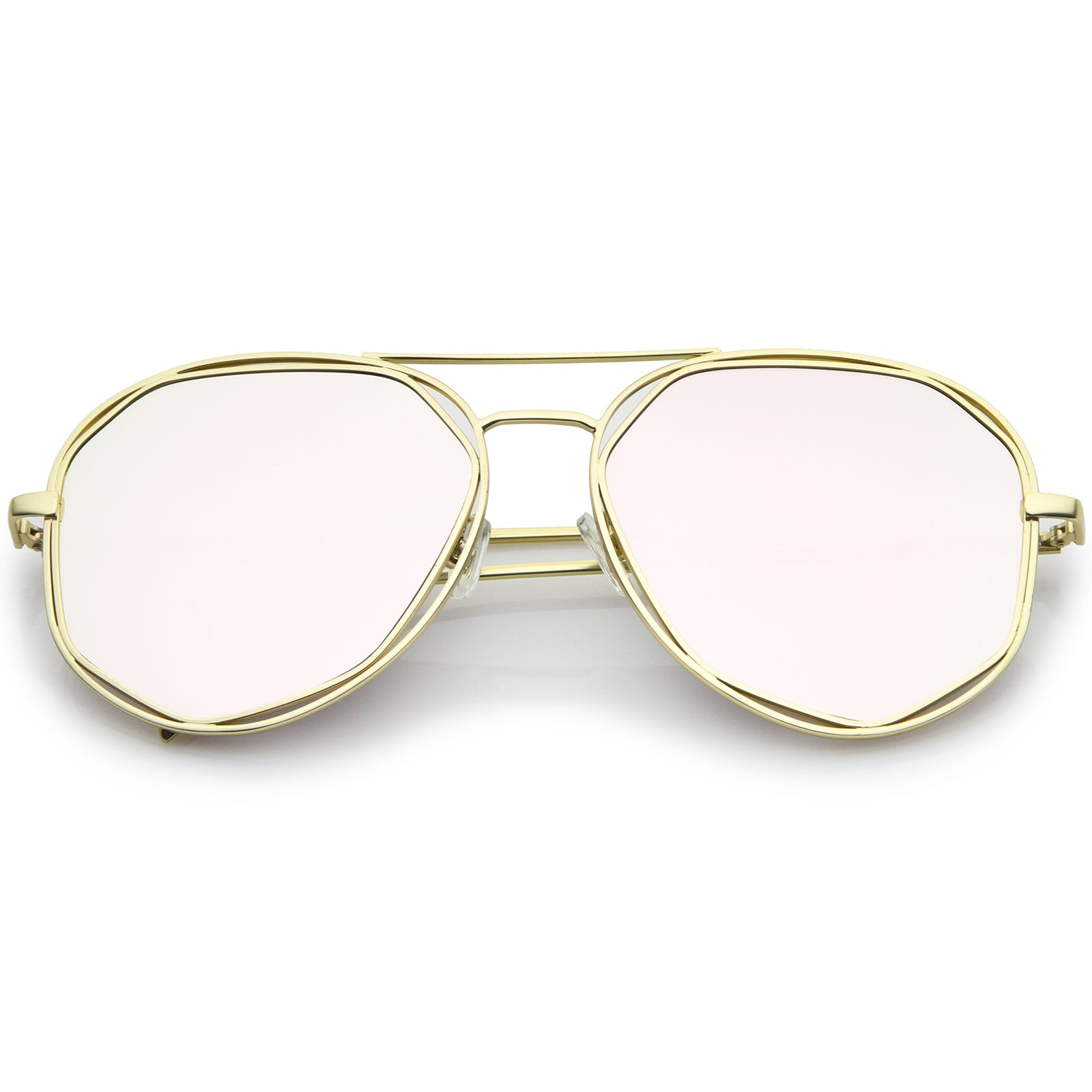 Geometric Hexagonal Metal Frame Colored Mirror Flat Lens Aviator Sunglasses 60mm - sunglass.la