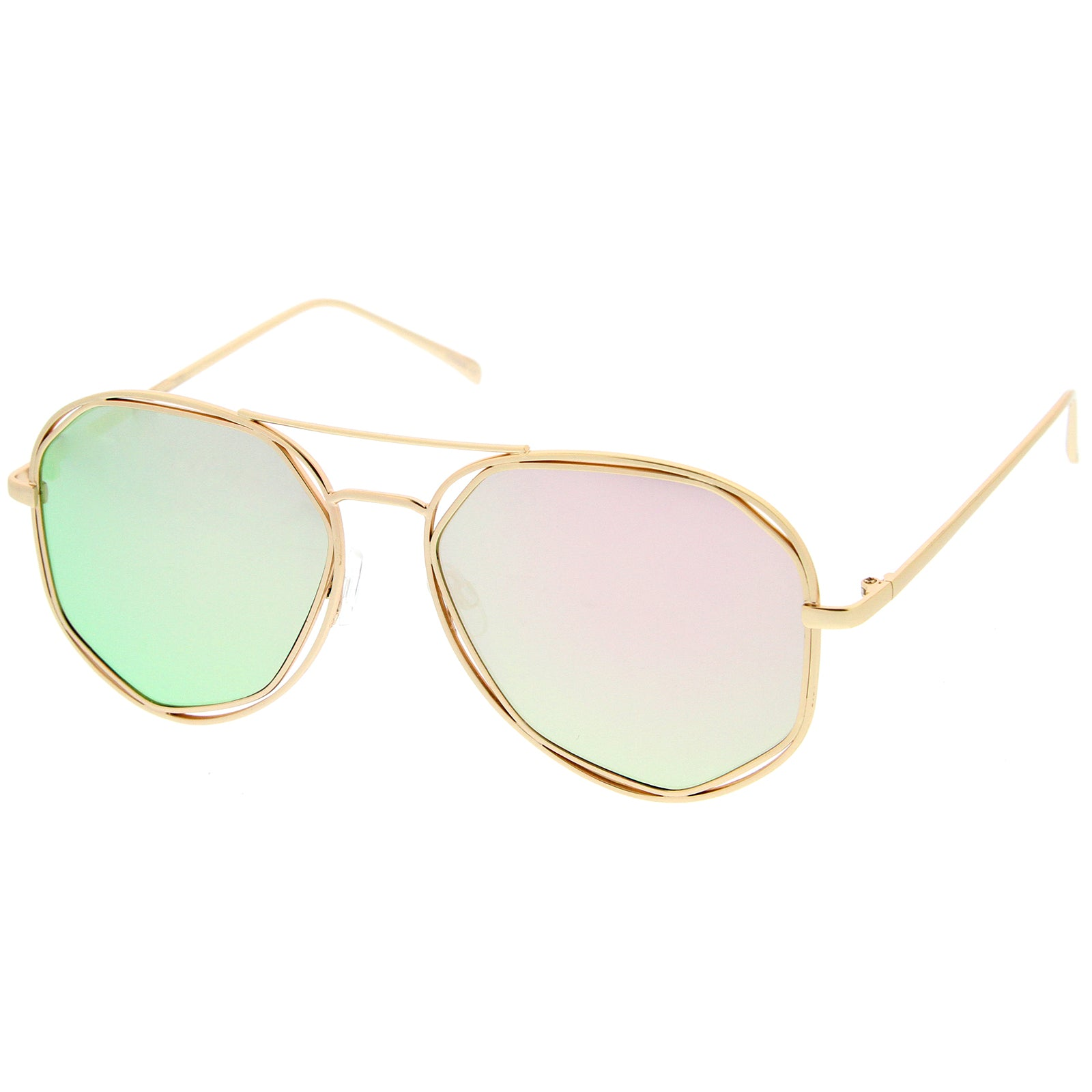 Geometric Hexagonal Metal Frame Colored Mirror Flat Lens Aviator Sunglasses 60mm - sunglass.la - 2