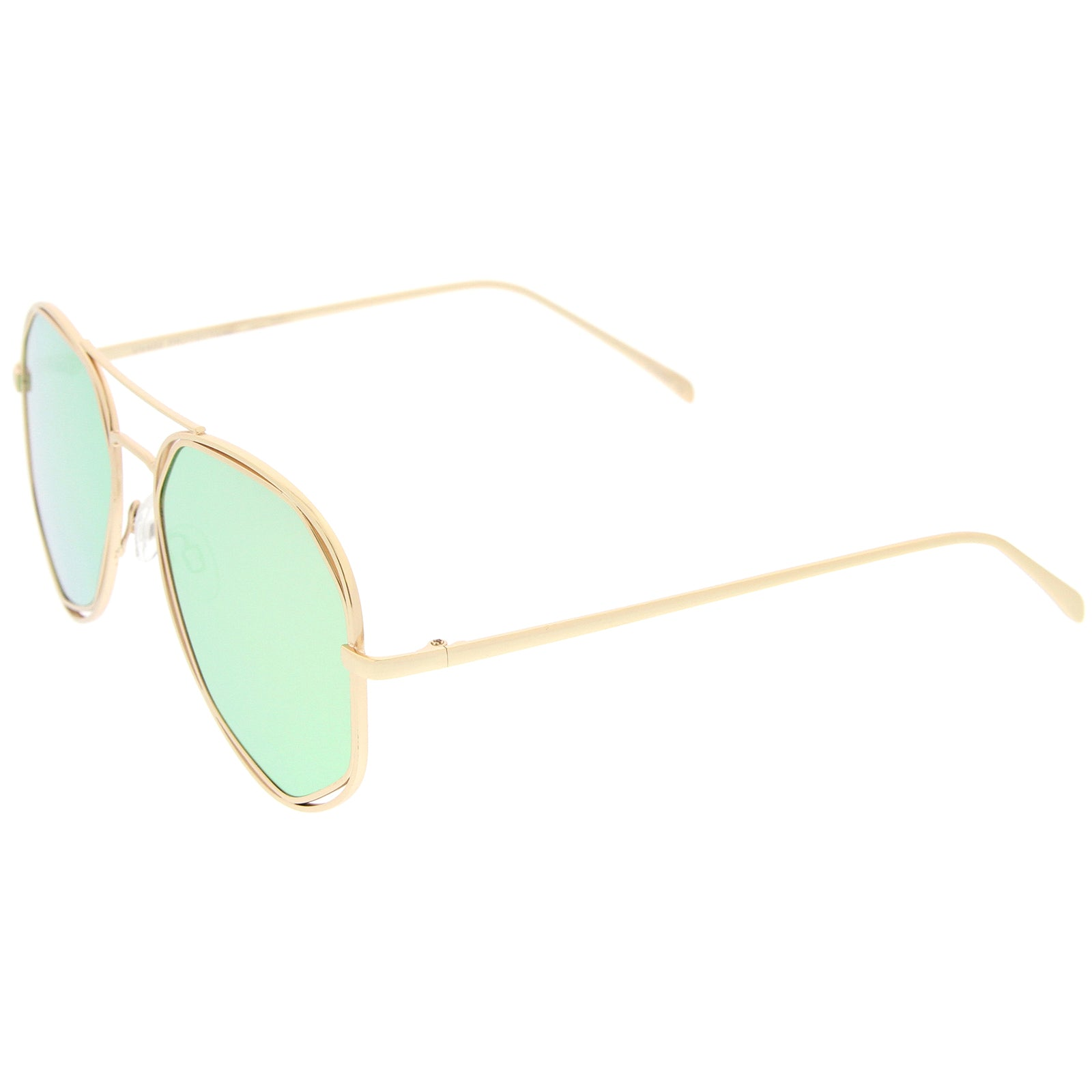 Geometric Hexagonal Metal Frame Colored Mirror Flat Lens Aviator Sunglasses 60mm - sunglass.la - 3