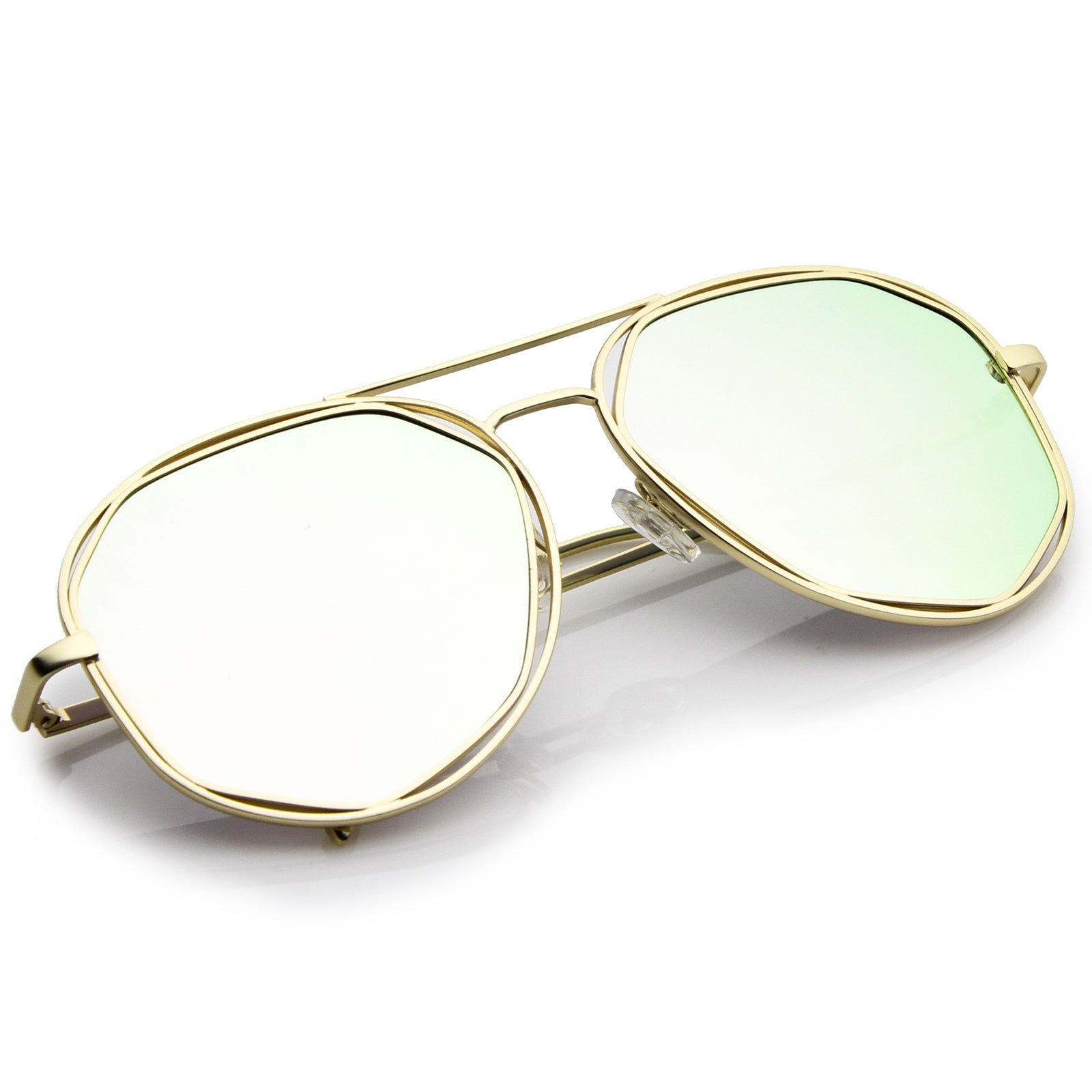 Geometric Hexagonal Metal Frame Colored Mirror Flat Lens Aviator Sunglasses 60mm - sunglass.la - 4