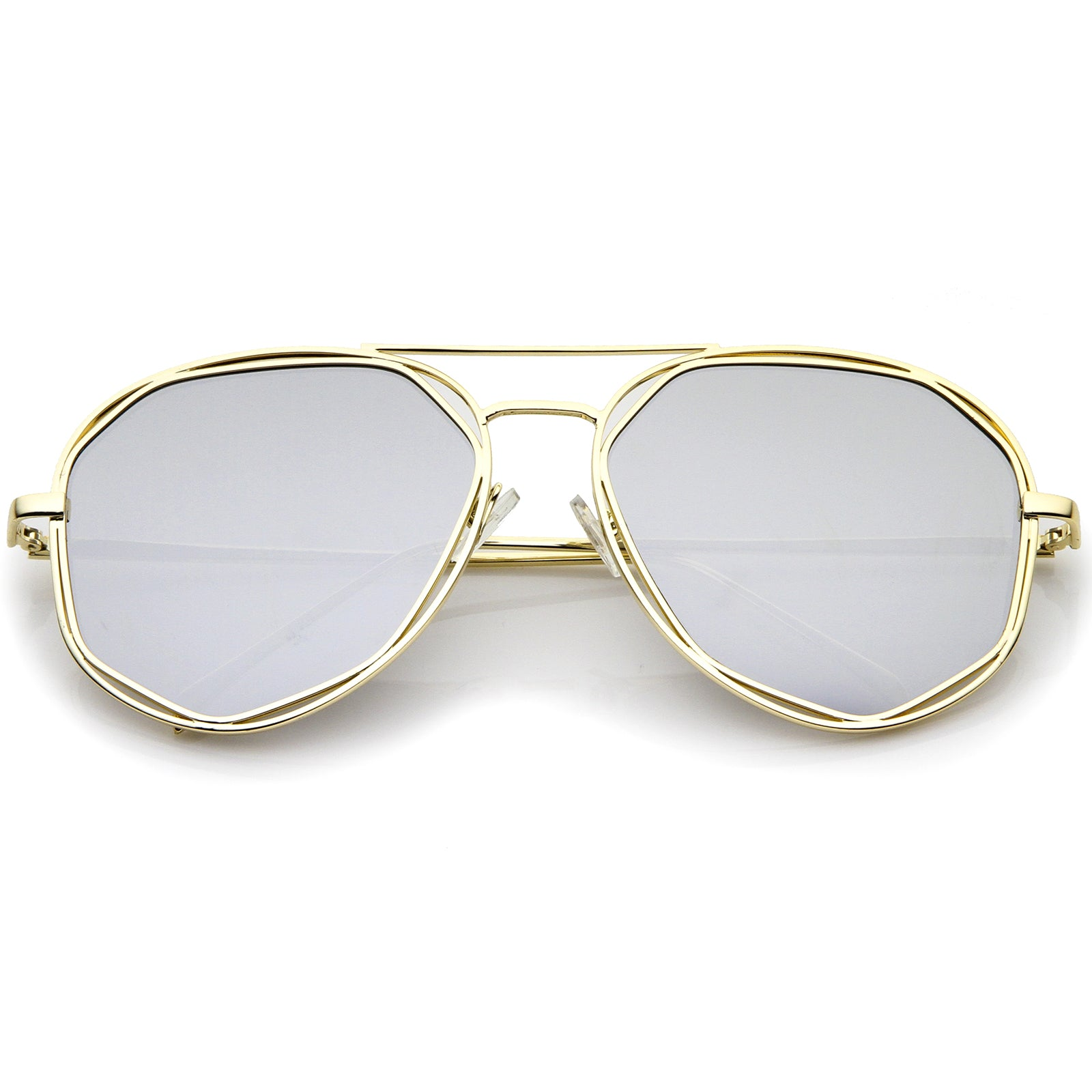 Geometric Hexagonal Metal Frame Colored Mirror Flat Lens Aviator Sunglasses 60mm - sunglass.la - 5