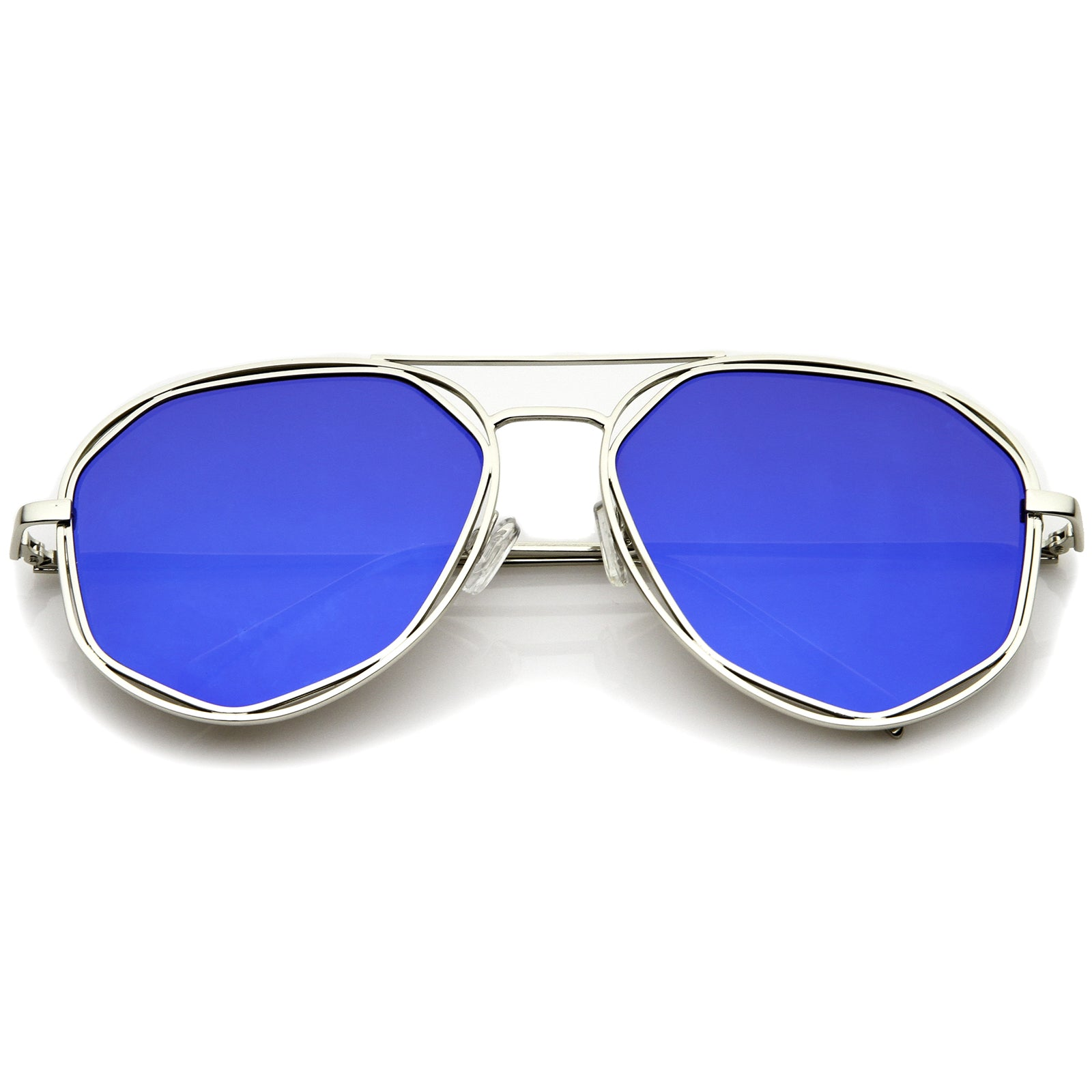 Geometric Hexagonal Metal Frame Colored Mirror Flat Lens Aviator Sunglasses 60mm - sunglass.la - 7
