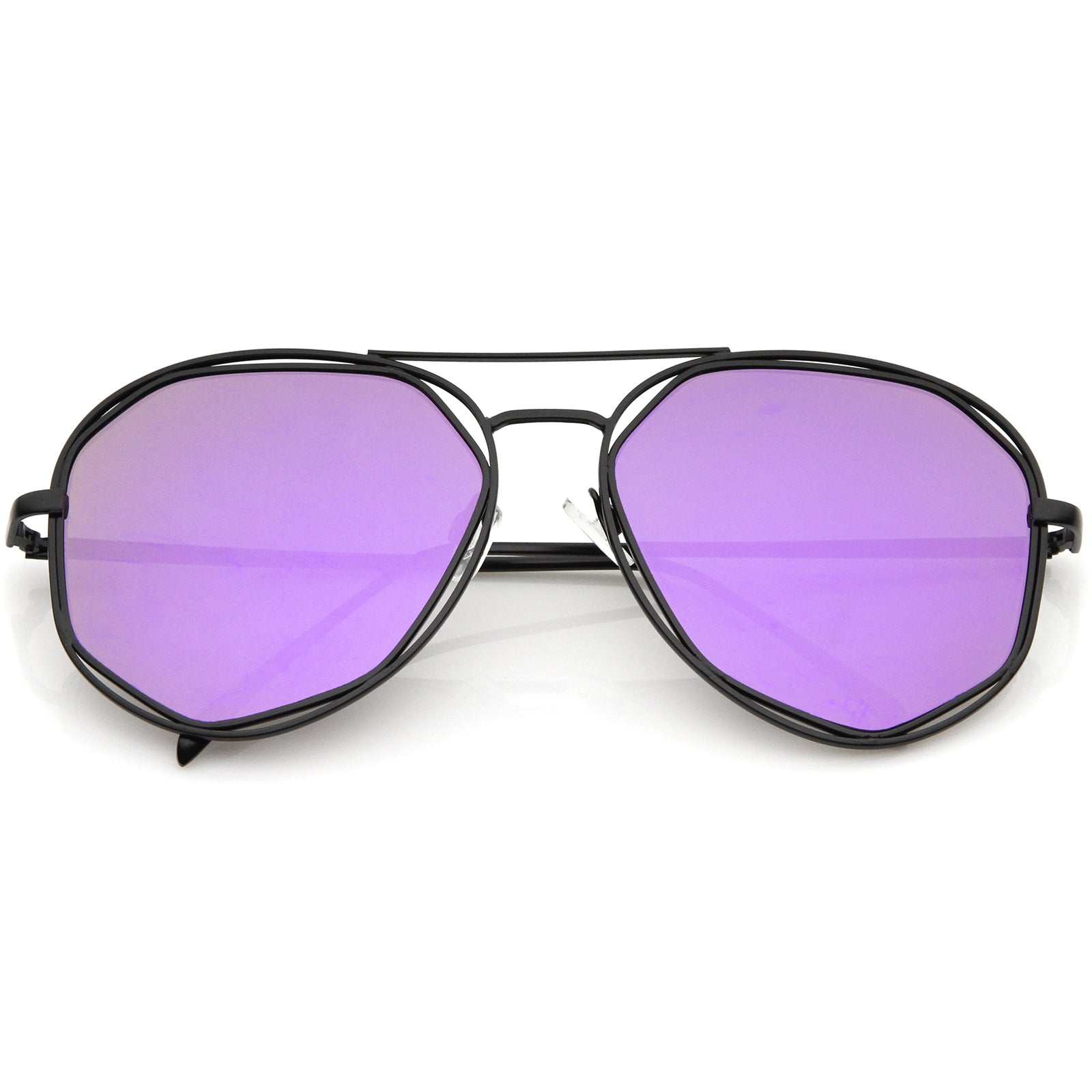 Geometric Hexagonal Metal Frame Colored Mirror Flat Lens Aviator Sunglasses 60mm - sunglass.la - 8