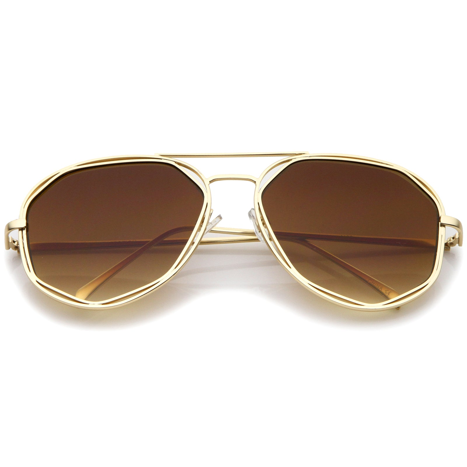 Geometric Hexagonal Metal Frame Neutral Colored Flat Lens Aviator Sunglasses 60mm - sunglass.la - 1