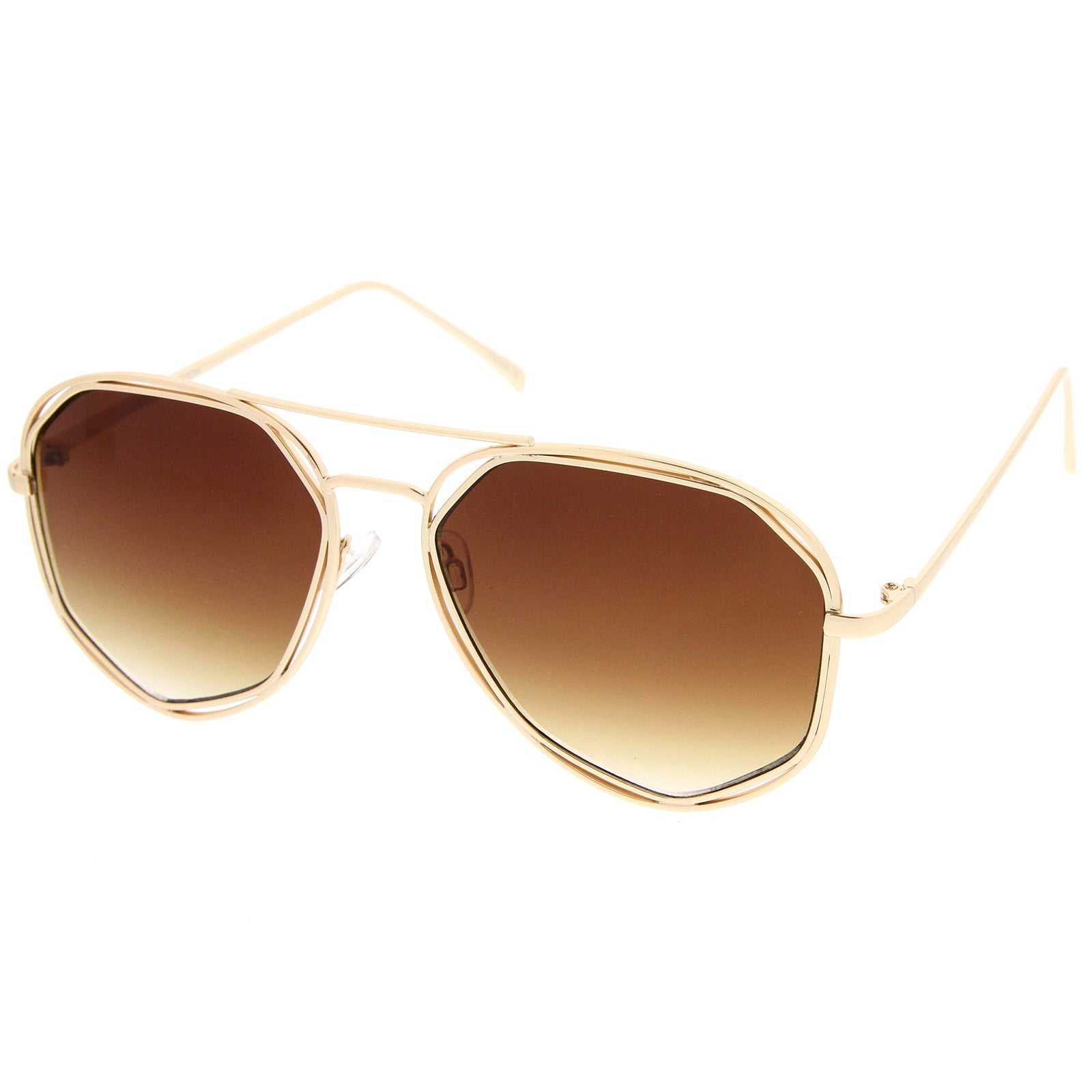 Geometric Hexagonal Metal Frame Neutral Colored Flat Lens Aviator Sunglasses 60mm - sunglass.la - 2