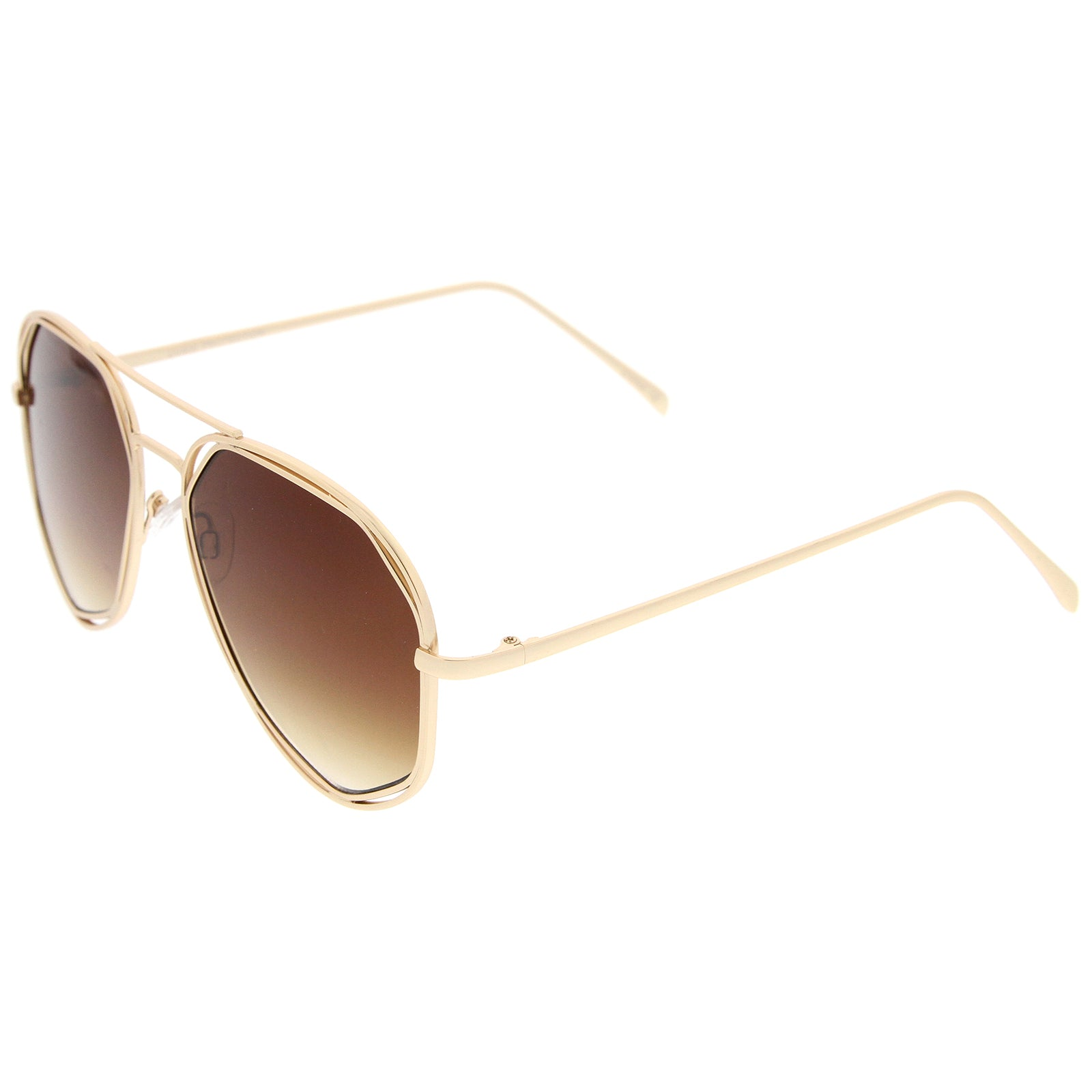 Geometric Hexagonal Metal Frame Neutral Colored Flat Lens Aviator Sunglasses 60mm - sunglass.la - 3