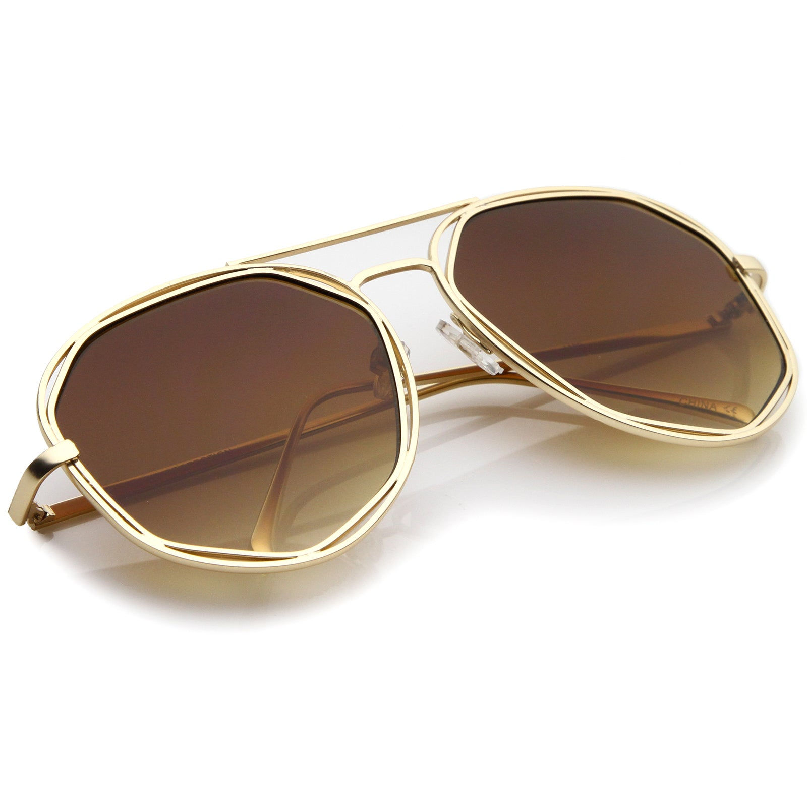 Geometric Hexagonal Metal Frame Neutral Colored Flat Lens Aviator Sunglasses 60mm - sunglass.la - 4