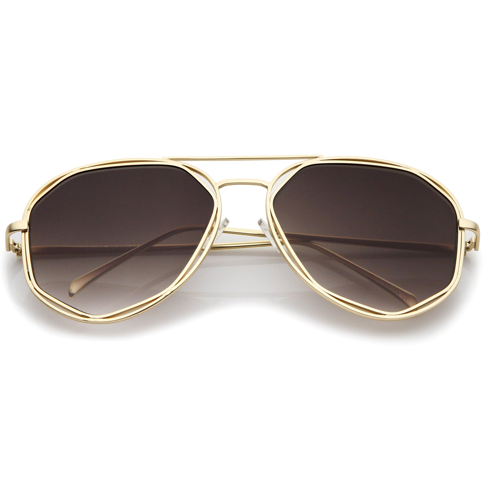 Geometric Hexagonal Metal Frame Neutral Colored Flat Lens Aviator Sunglasses 60mm - sunglass.la - 5