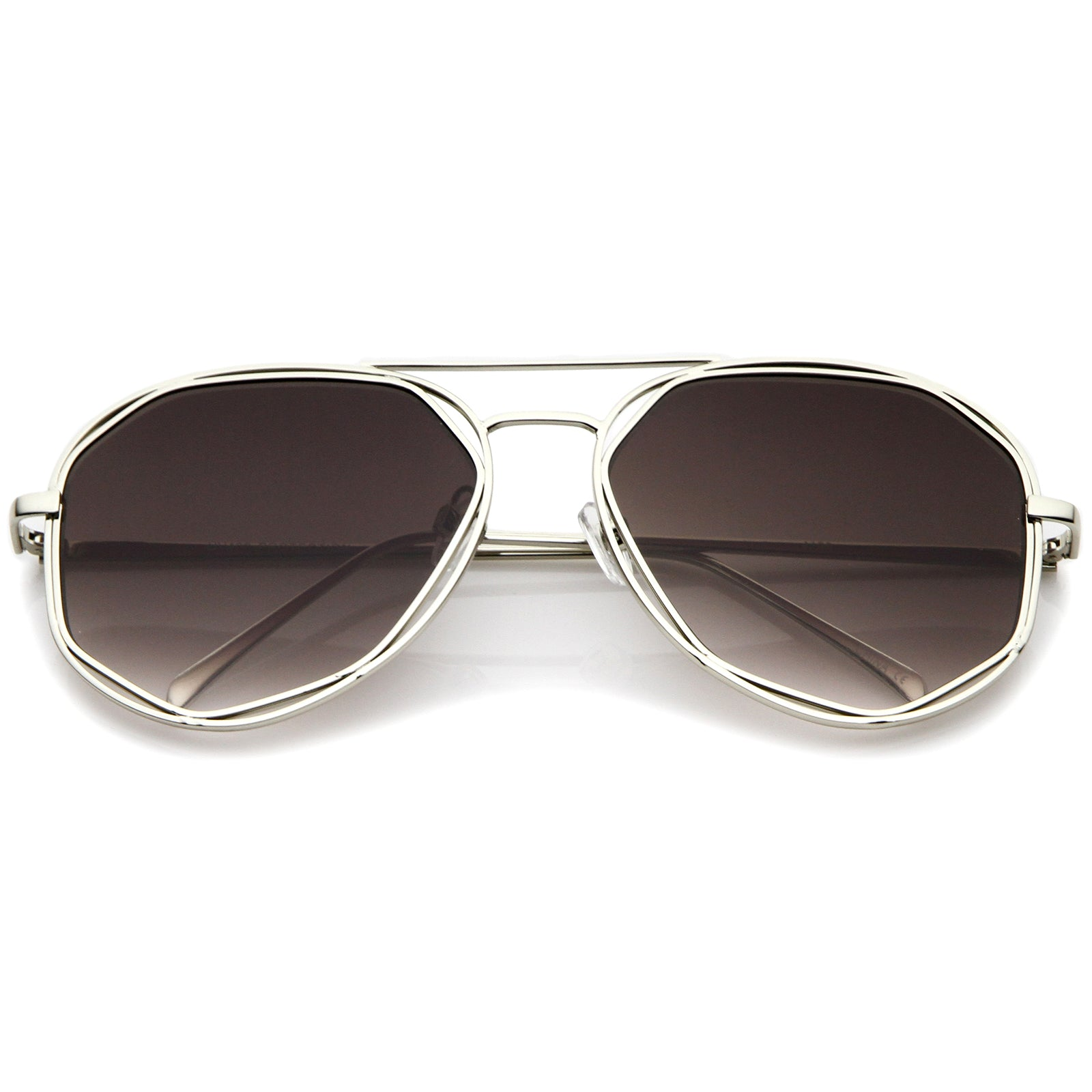 Geometric Hexagonal Metal Frame Neutral Colored Flat Lens Aviator Sunglasses 60mm - sunglass.la - 6