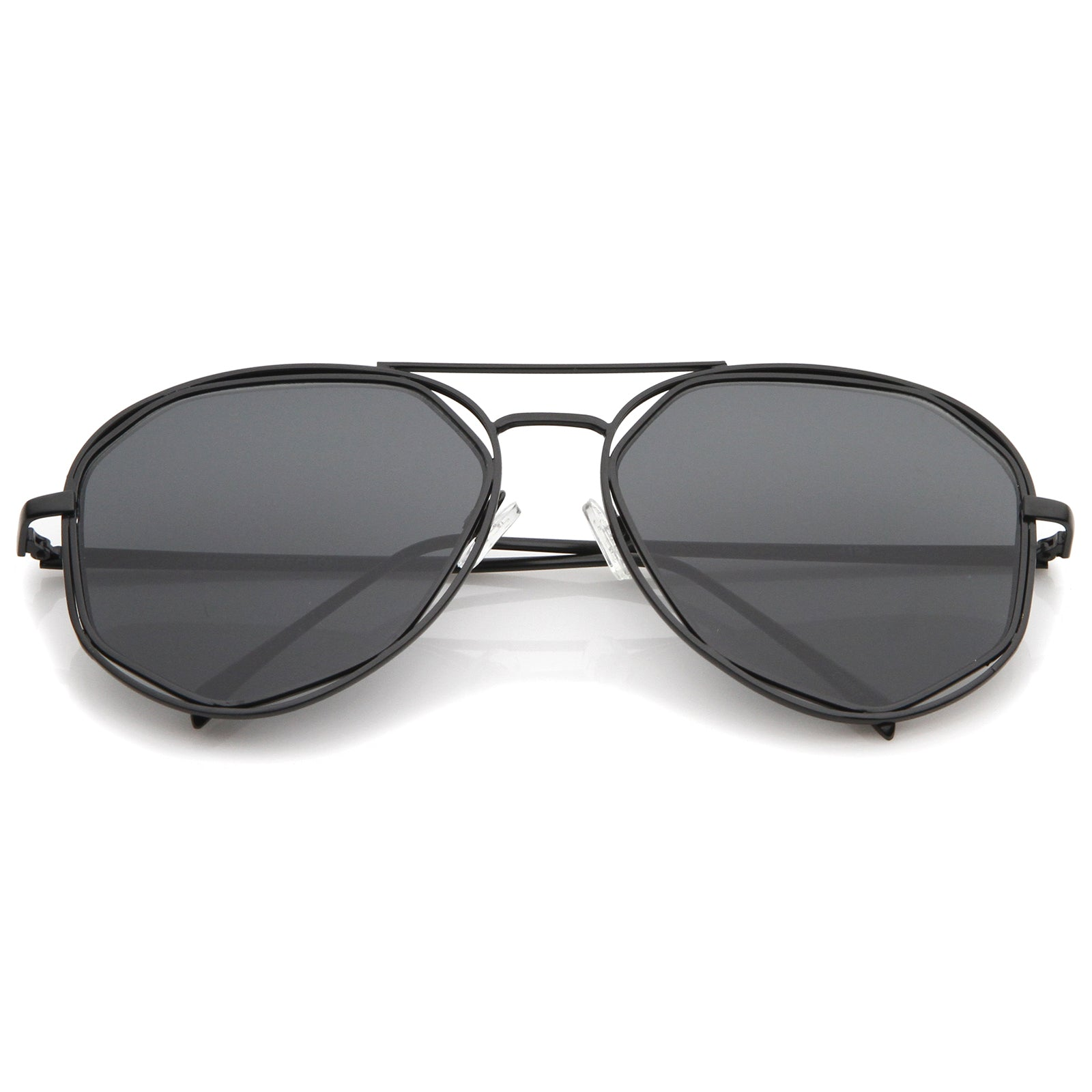 Geometric Hexagonal Metal Frame Neutral Colored Flat Lens Aviator Sunglasses 60mm - sunglass.la - 7