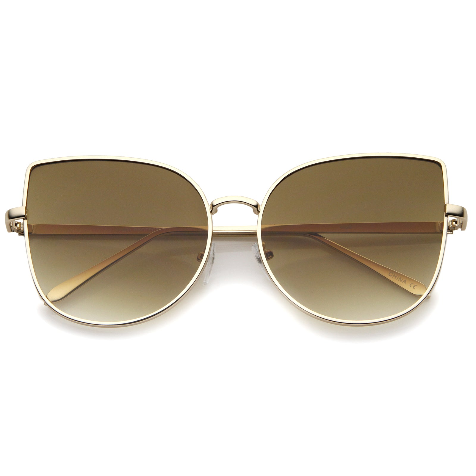 Women's Oversize Slim Metal Frame Gradient Flat Lens Cat Eye Sunglasses 58mm - sunglass.la - 1