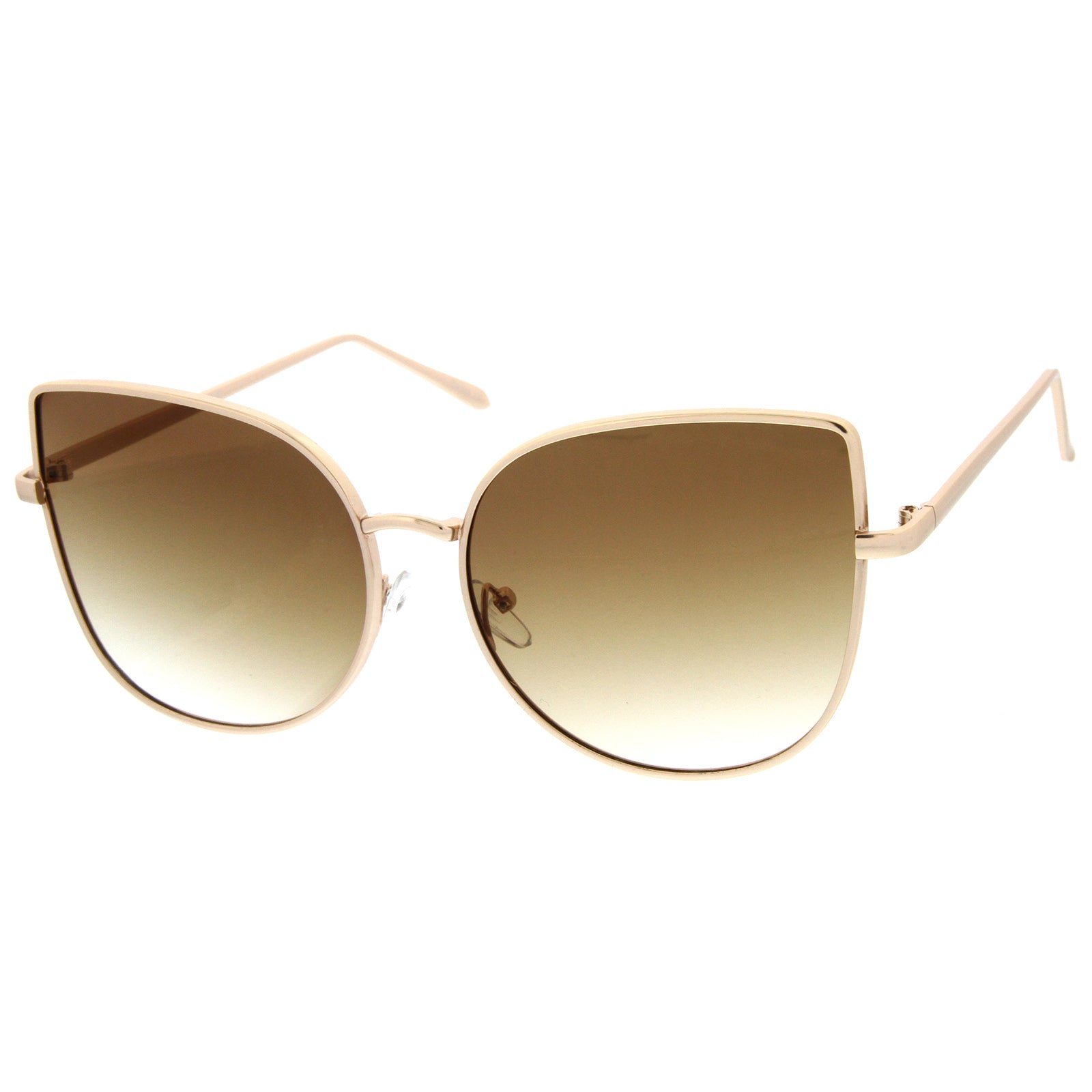 Women's Oversize Slim Metal Frame Gradient Flat Lens Cat Eye Sunglasses 58mm - sunglass.la - 2