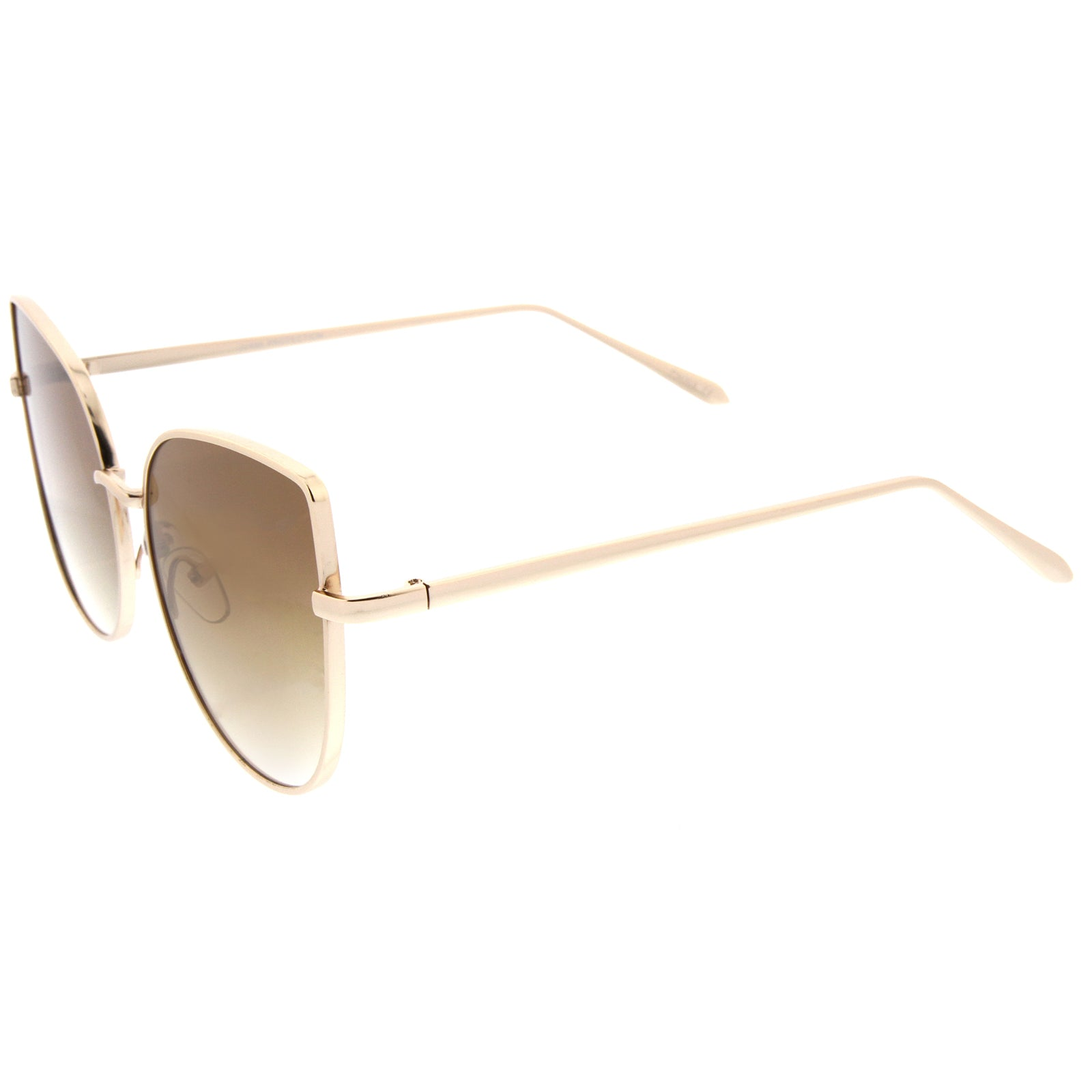 Women's Oversize Slim Metal Frame Gradient Flat Lens Cat Eye Sunglasses 58mm - sunglass.la - 3