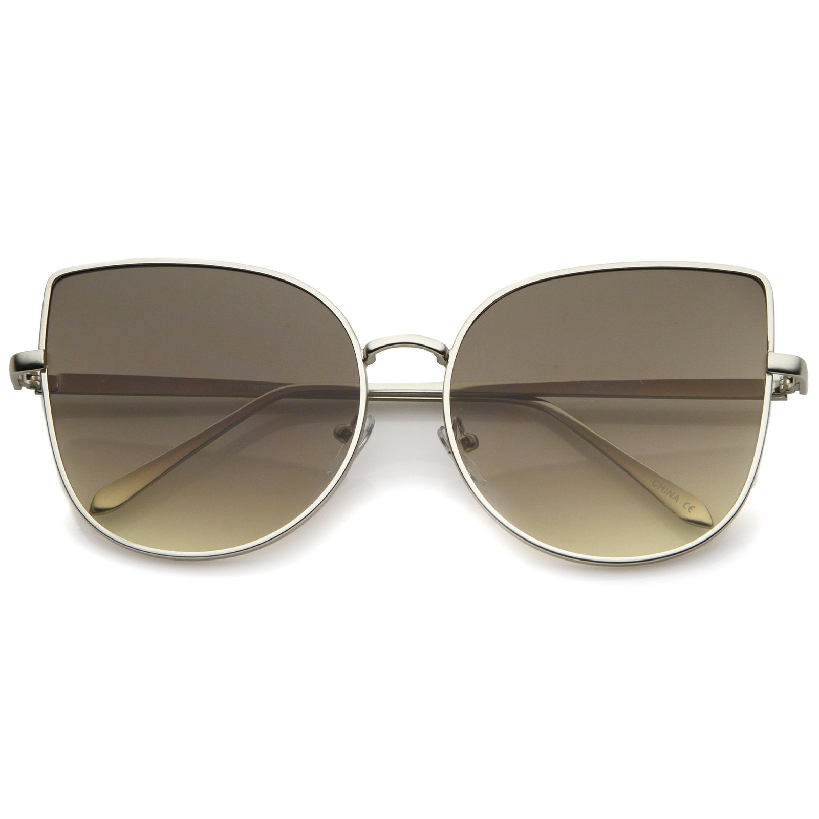 Women's Oversize Slim Metal Frame Gradient Flat Lens Cat Eye Sunglasses 58mm - sunglass.la - 5