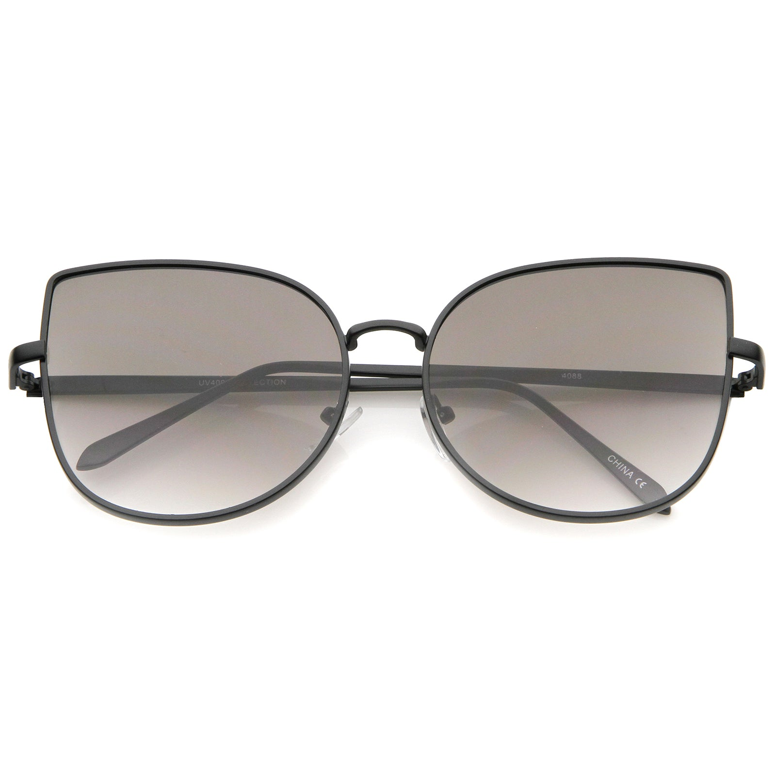 Women's Oversize Slim Metal Frame Gradient Flat Lens Cat Eye Sunglasses 58mm - sunglass.la - 7