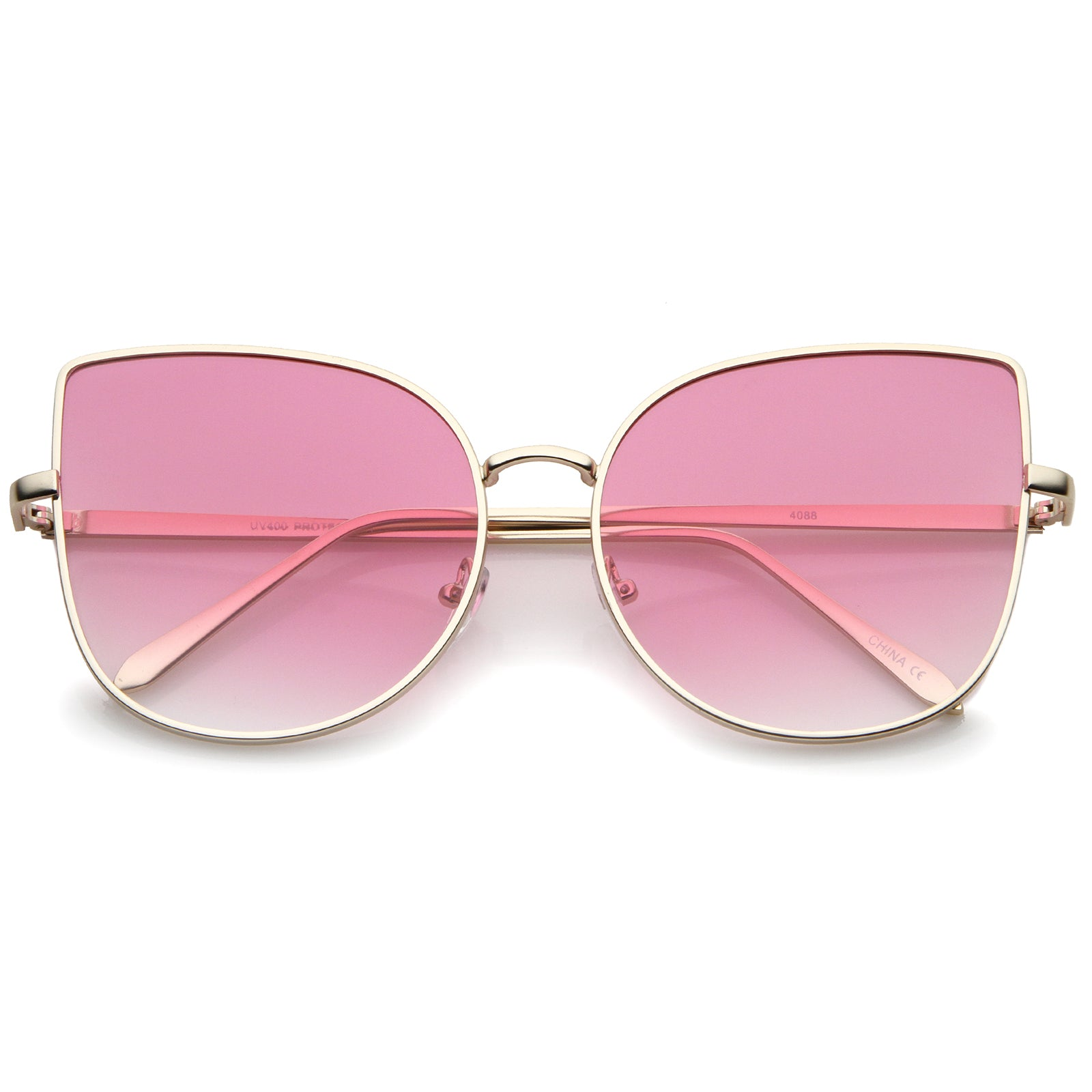 Women's Oversize Slim Metal Frame Gradient Flat Lens Cat Eye Sunglasses 58mm - sunglass.la - 8