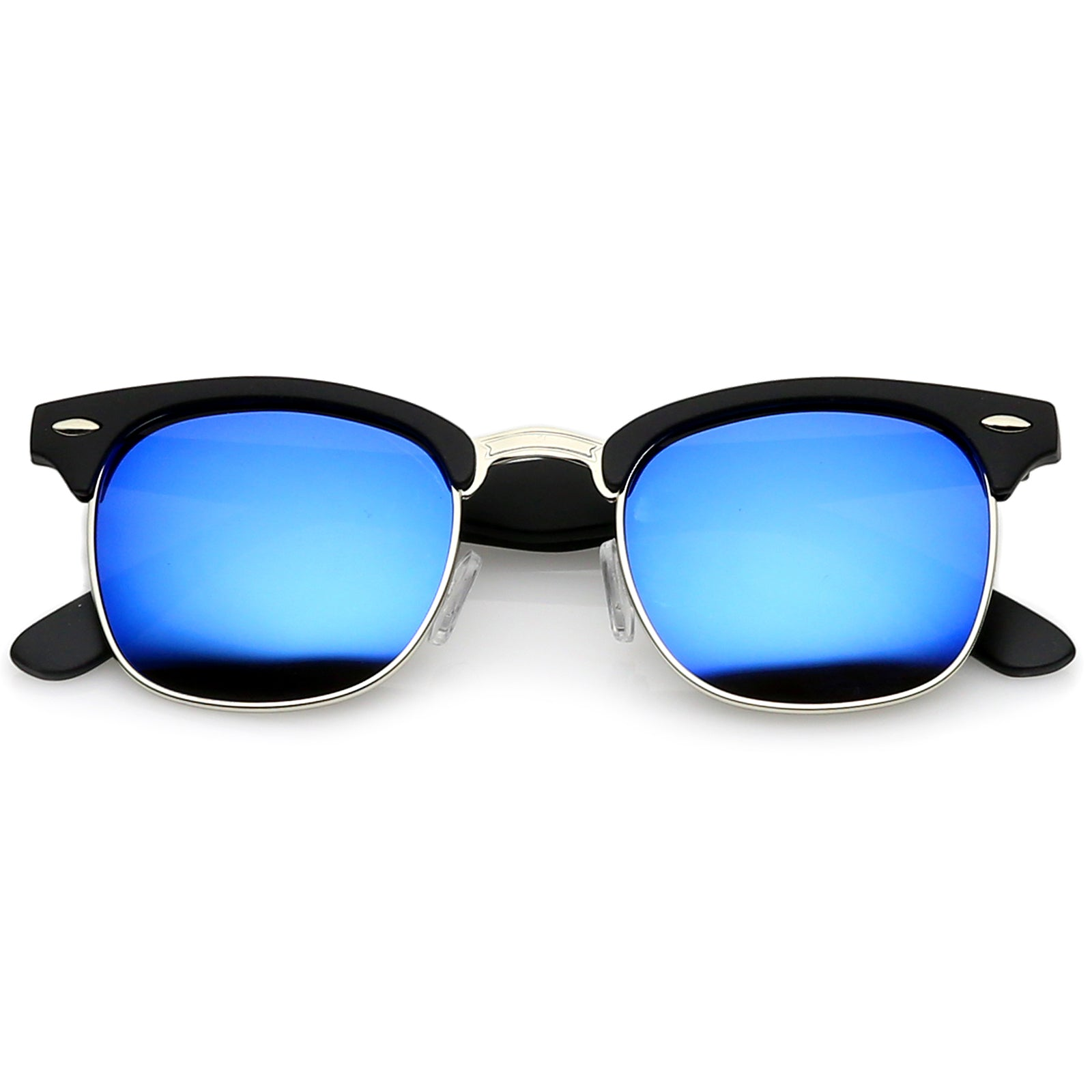 Rubberized Black-Silver / Blue Mirror