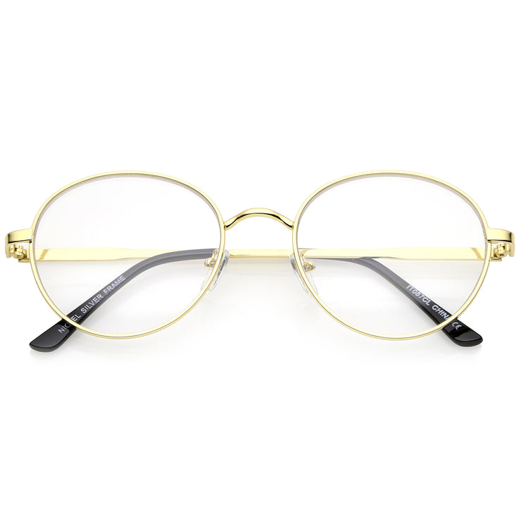 Classic Metal Frame Slim Temple Clear Lens Round Eyeglasses 53mm ...