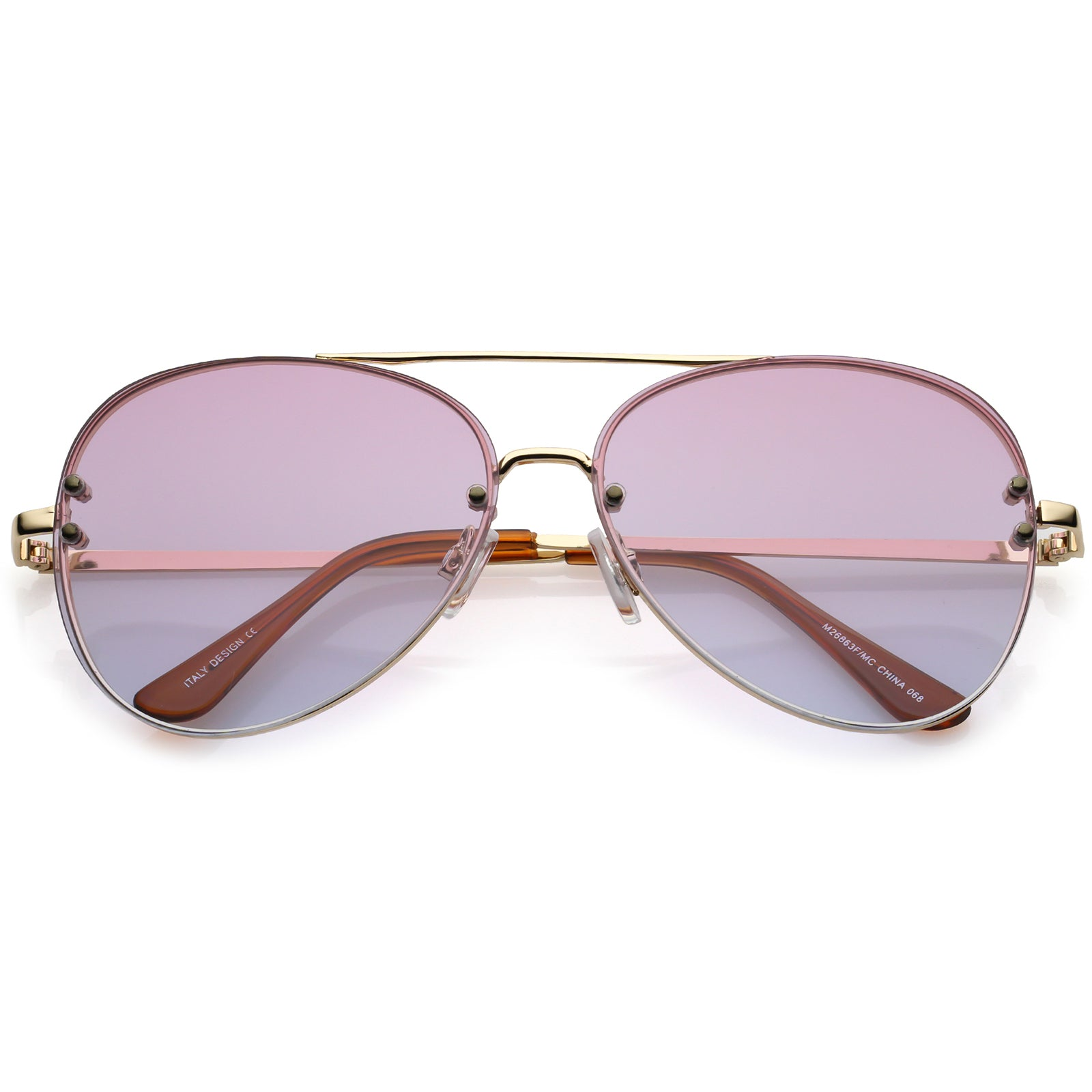 d63945eec1 Oversize Rimless Aviator Sunglasses Double Crossbar Gradient Lens ...