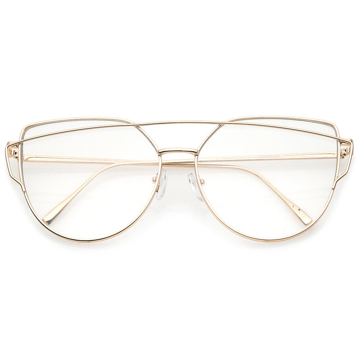 Oversize Metal Frame Thin Temple Clear Flat Lens Aviator Eyeglasses ...