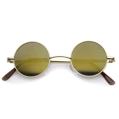 Lennon Style Round Circle Metal Sunglasses with Color Mirror Lens